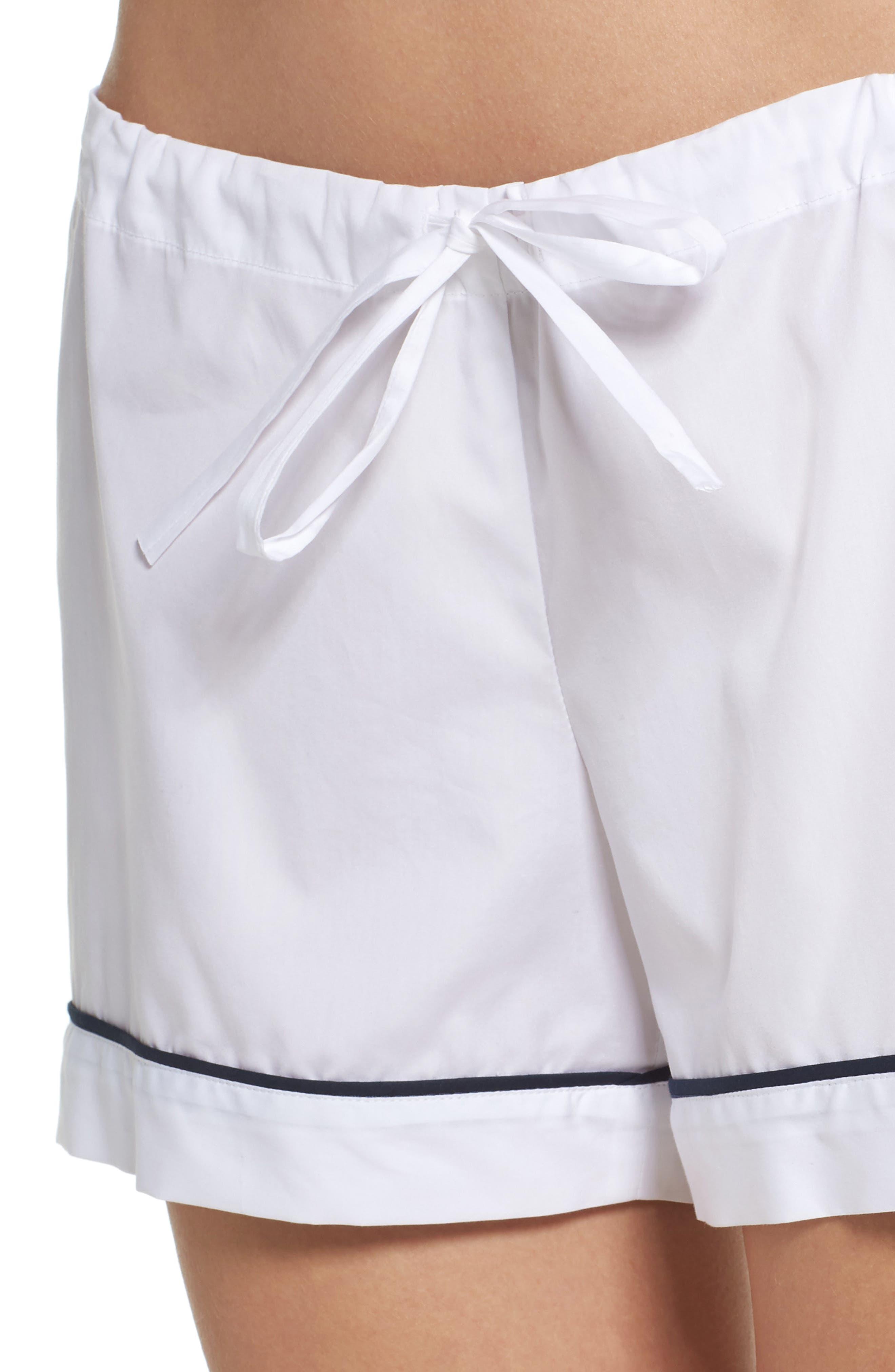 Piped Pajama Shorts,                             Alternate thumbnail 4, color,                             100