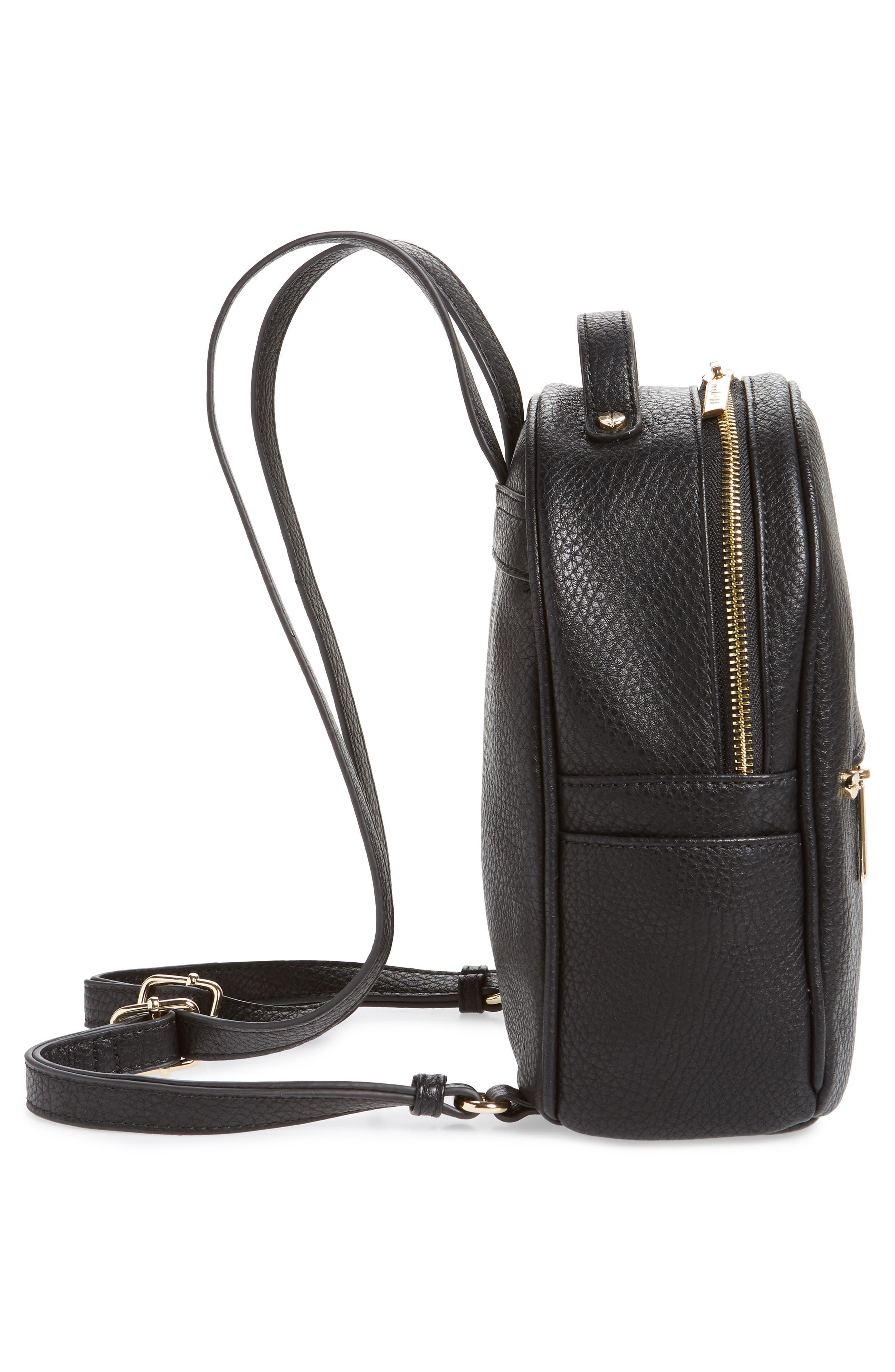 MALI + LILI,                             Hanny Vegan Leather Backpack,                             Alternate thumbnail 5, color,                             BLACK