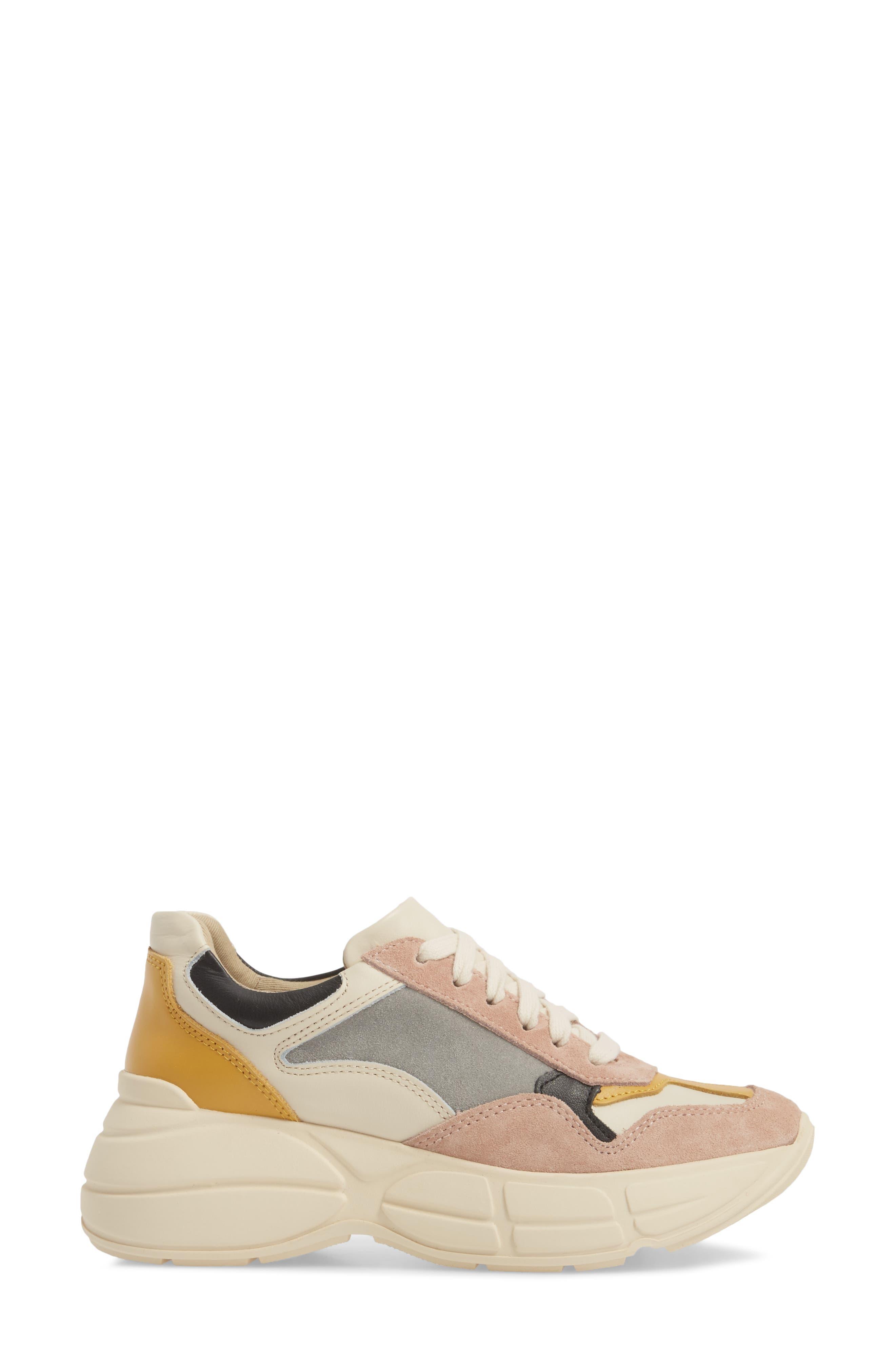 Memory Platform Wedge Sneaker,                             Alternate thumbnail 3, color,                             PINK MULTI