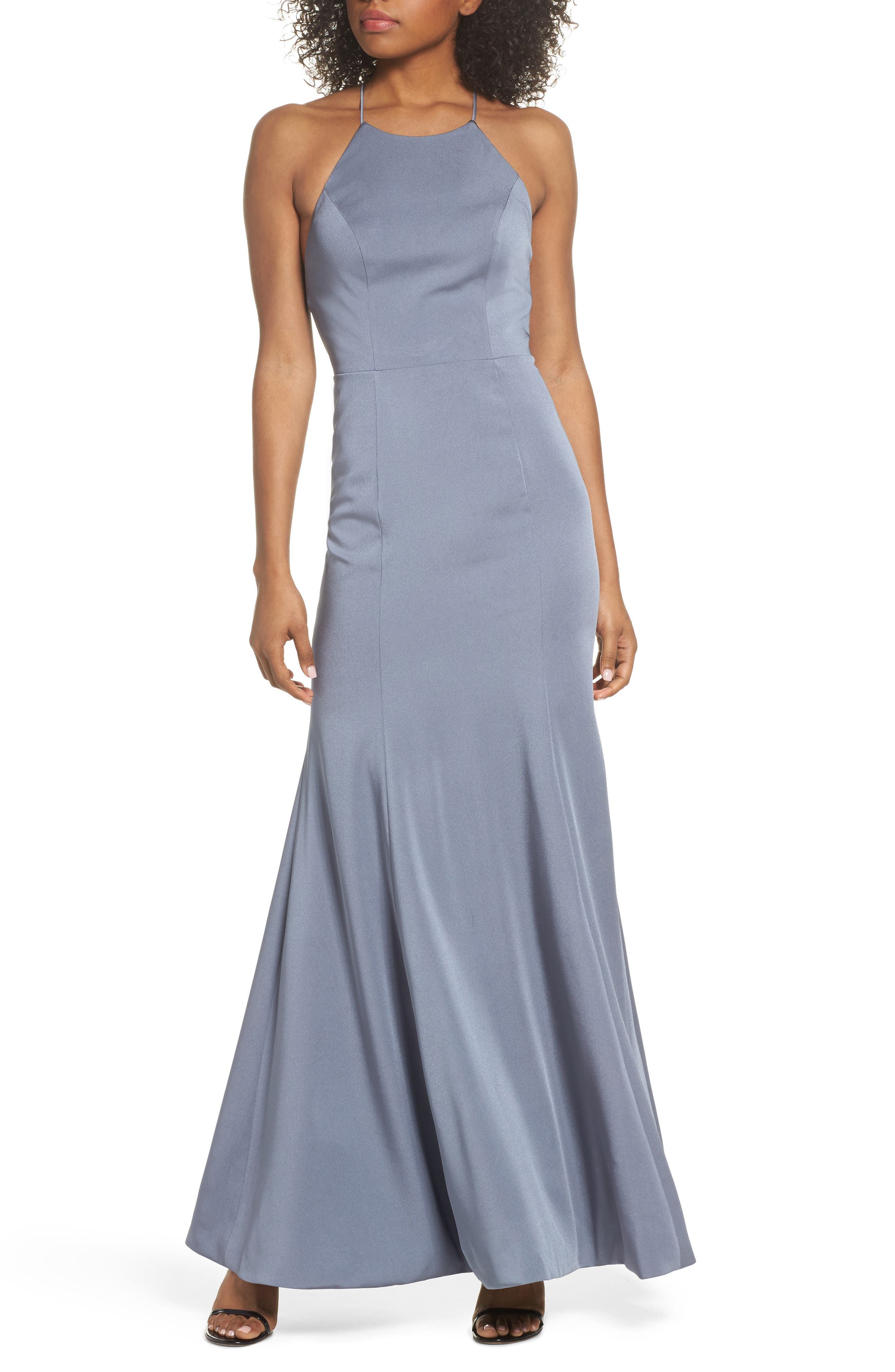 Naomi Luxe Crepe Halter Gown,                             Alternate thumbnail 6, color,                             HYDRANGEA