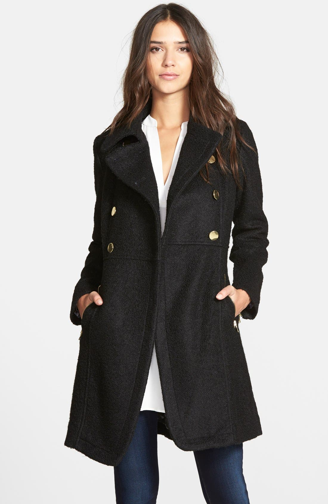 Double Breasted Bouclé Cutaway Coat,                         Main,                         color, 001