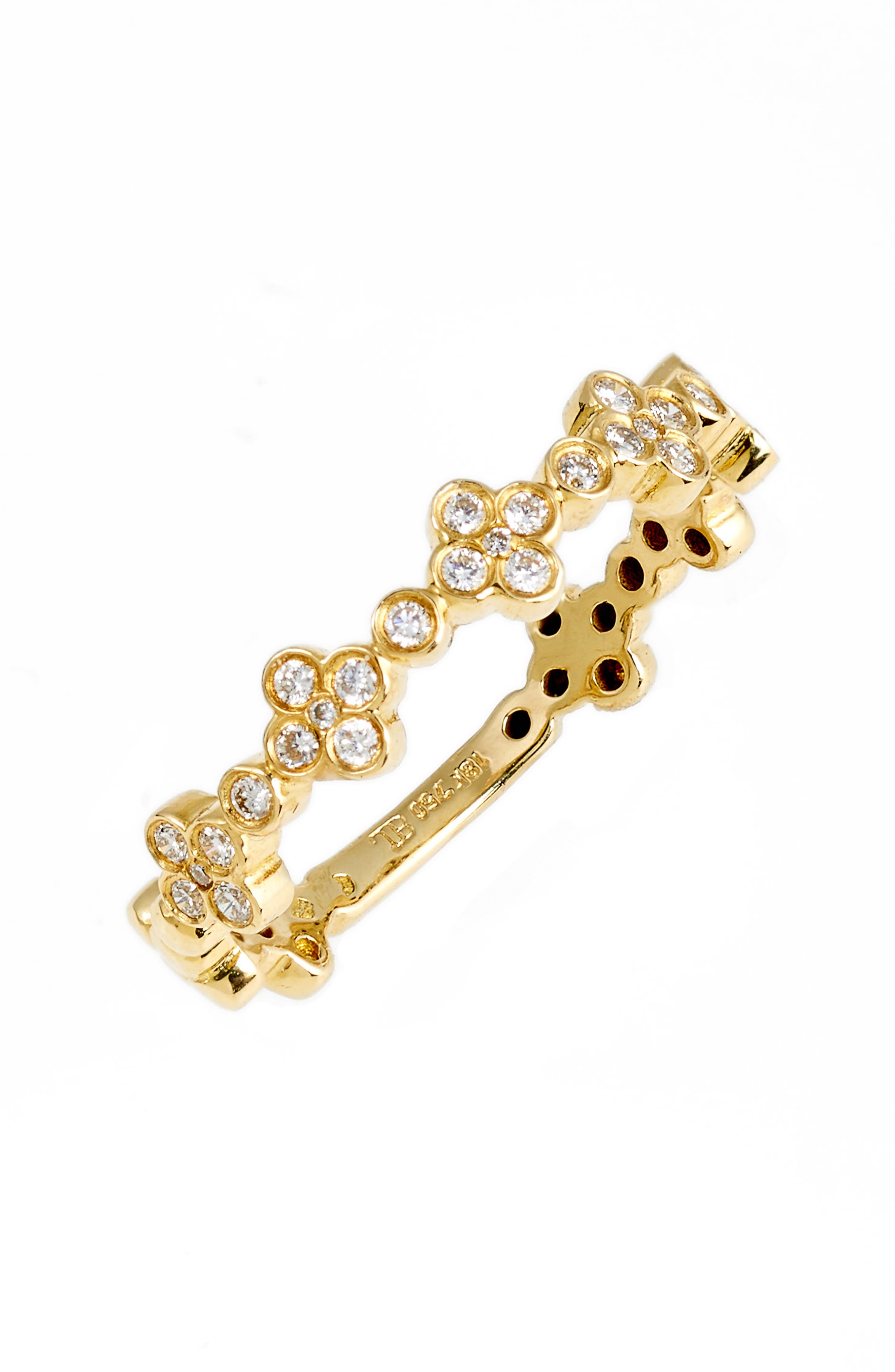 Stackable Diamond Clover Ring,                             Main thumbnail 1, color,                             710