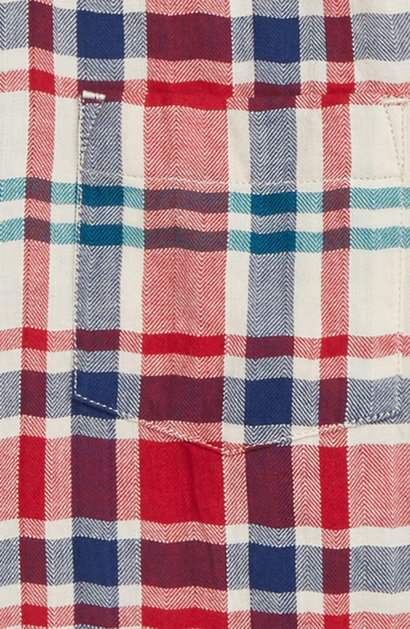 Plaid Crinkle Shirt,                             Alternate thumbnail 2, color,                             IVORY MULTI