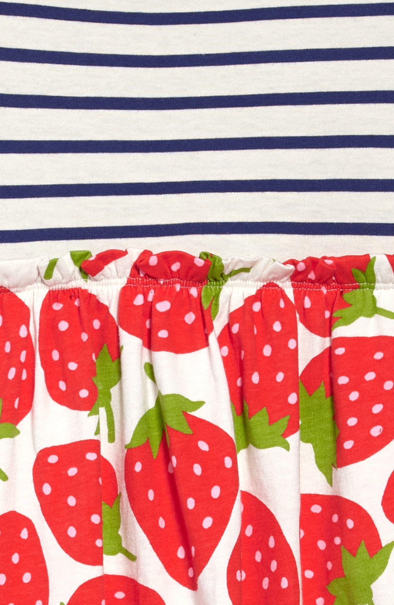 Stripe & Strawberries Print Dress,                             Alternate thumbnail 3, color,                             909