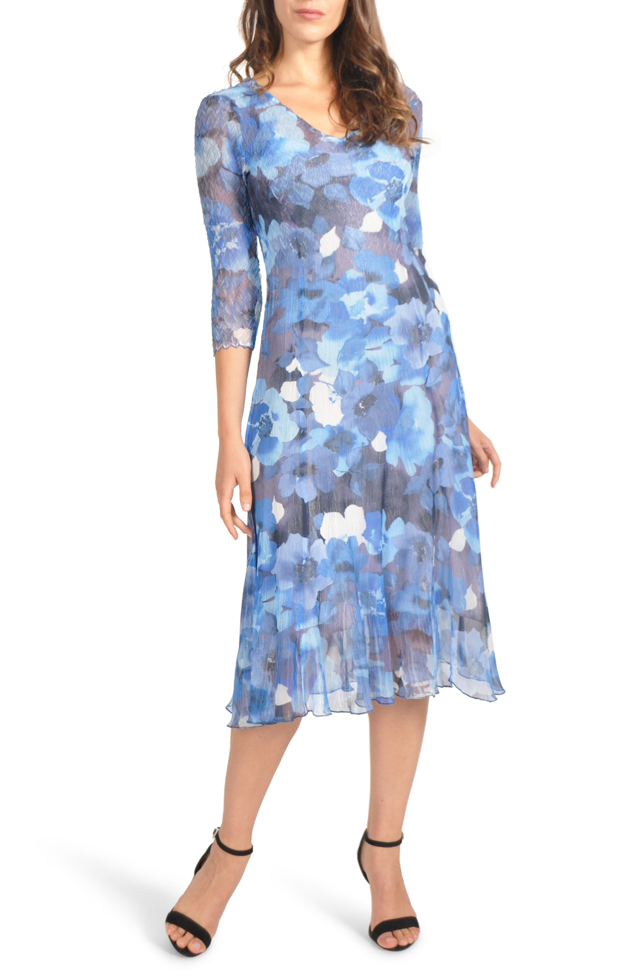 Petite Komarov Charmeuse & Chiffon Midi Dress, Blue