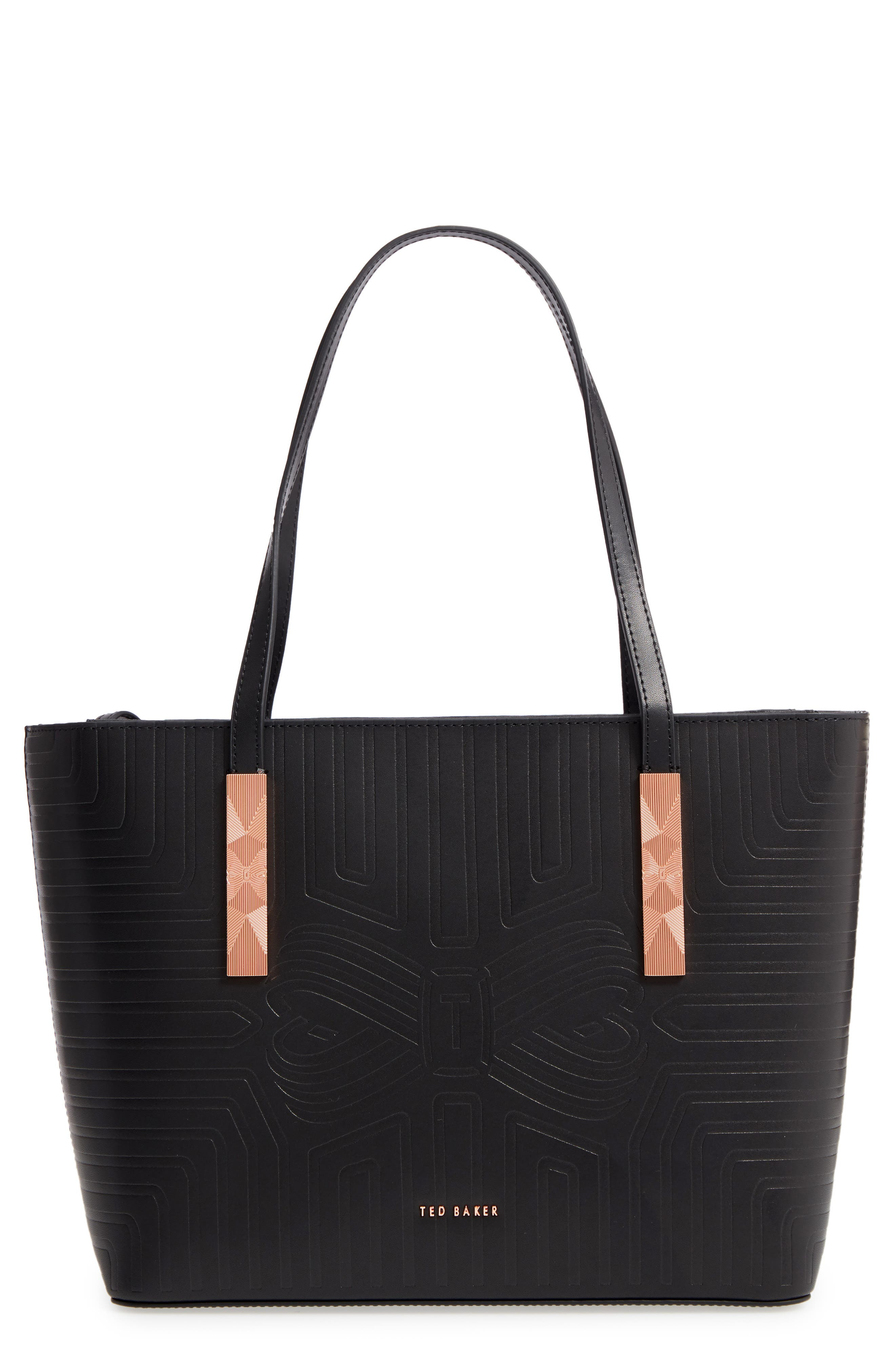 Bow Embossed Leather Shopper,                         Main,                         color, BLACK