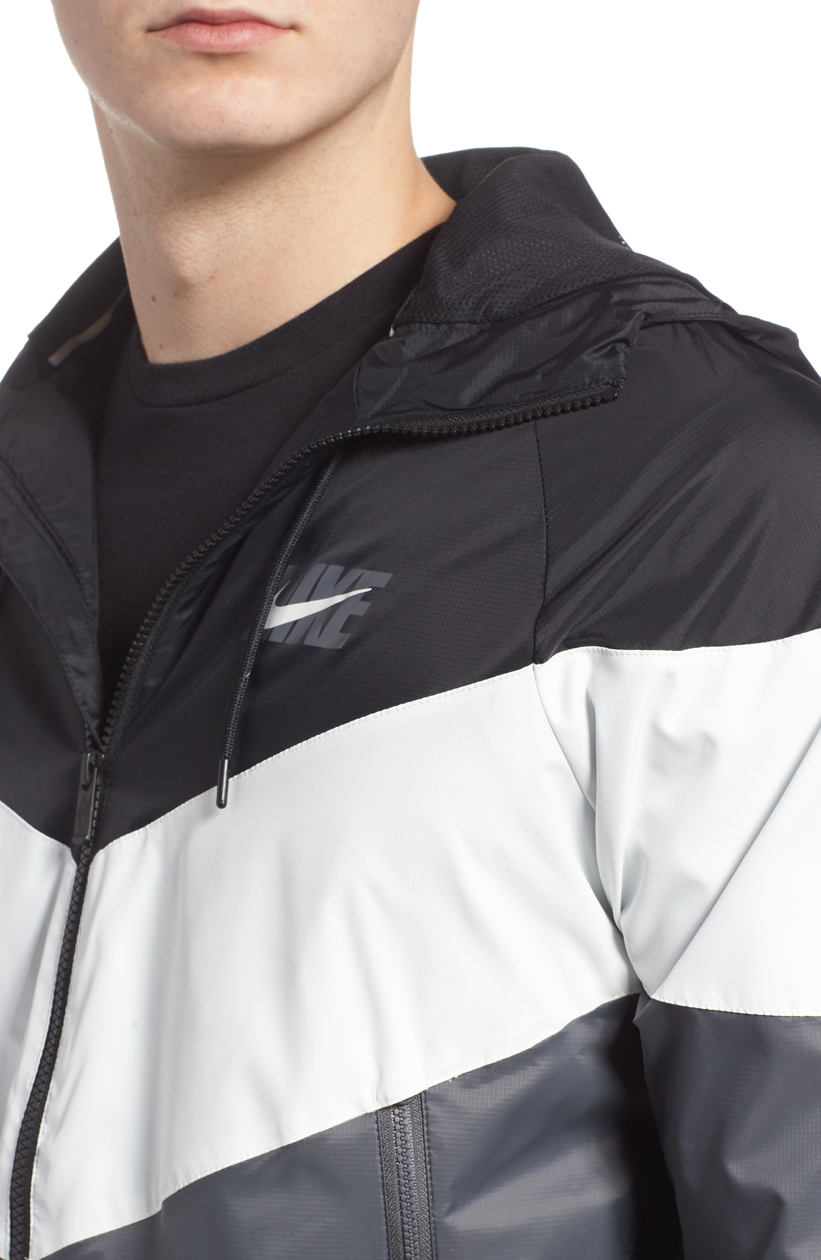 Windrunner Wind & Water Repellent Hooded Jacket,                             Alternate thumbnail 4, color,                             BLACK/ SUMMIT WHITE/ DARK GREY