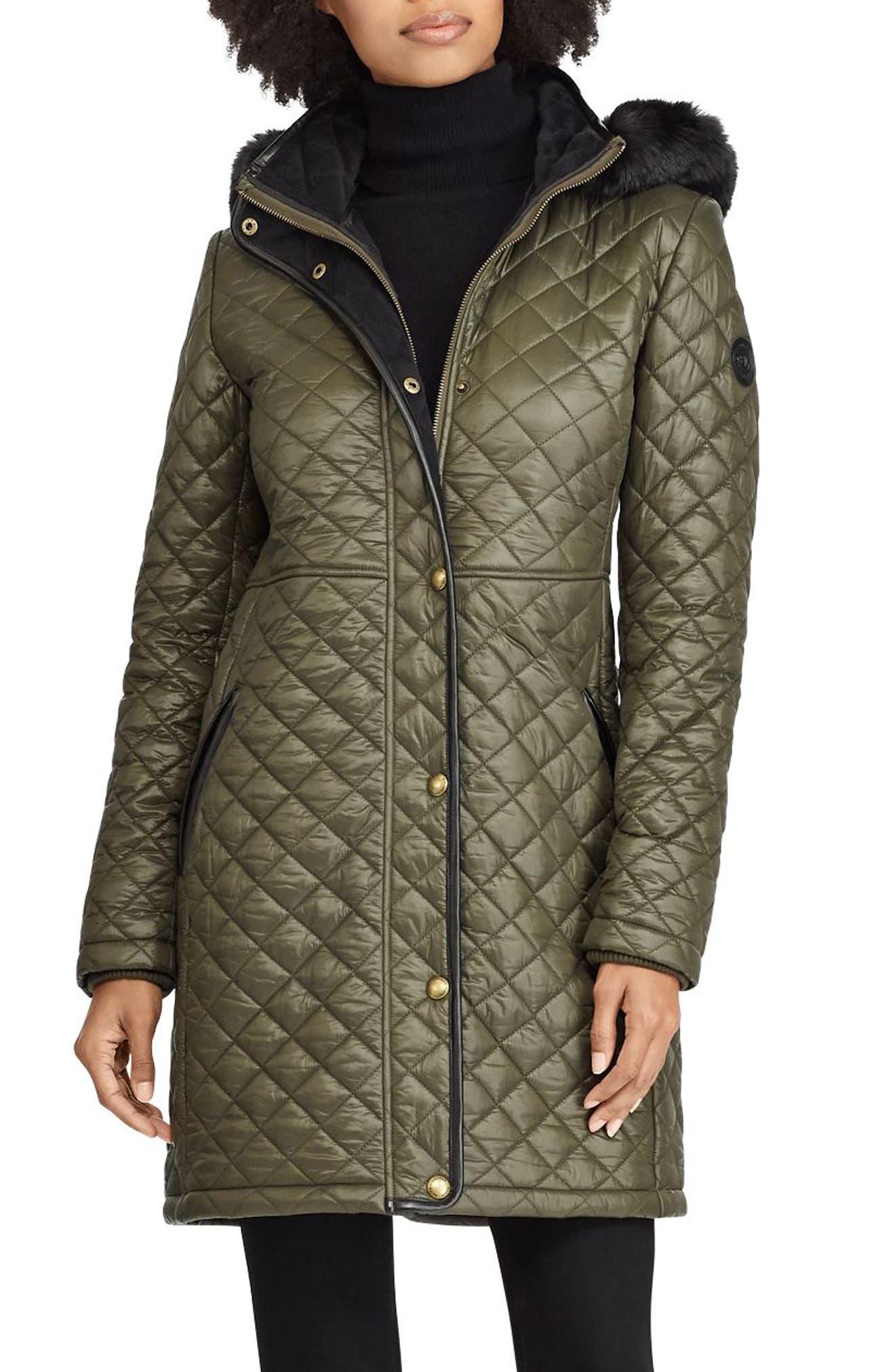 LAUREN RALPH LAUREN Faux Fur Trim Quilted Jacket, Main, color, 312