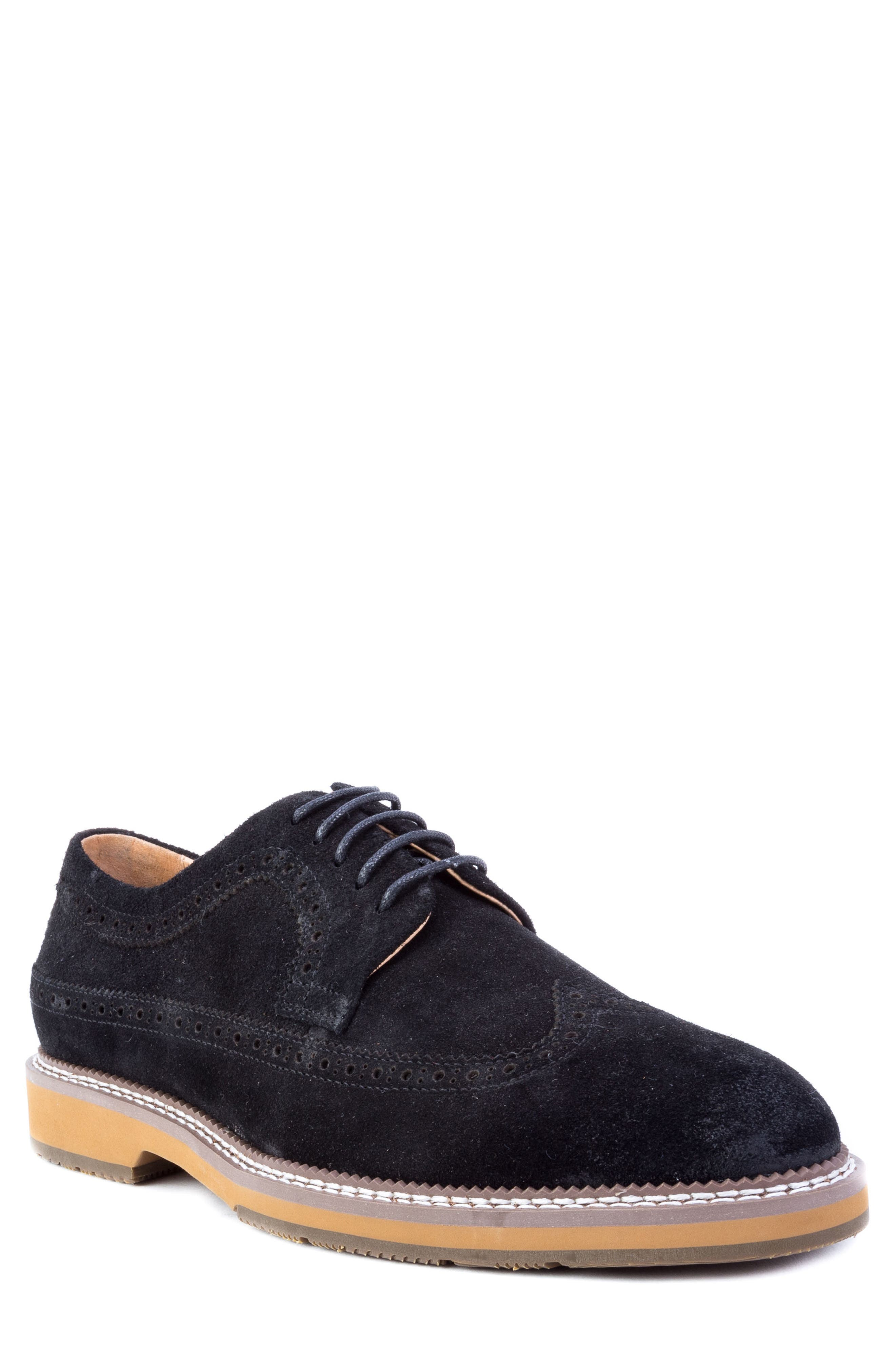 Modigliani Wingtip Derby,                             Main thumbnail 1, color,                             BLACK SUEDE