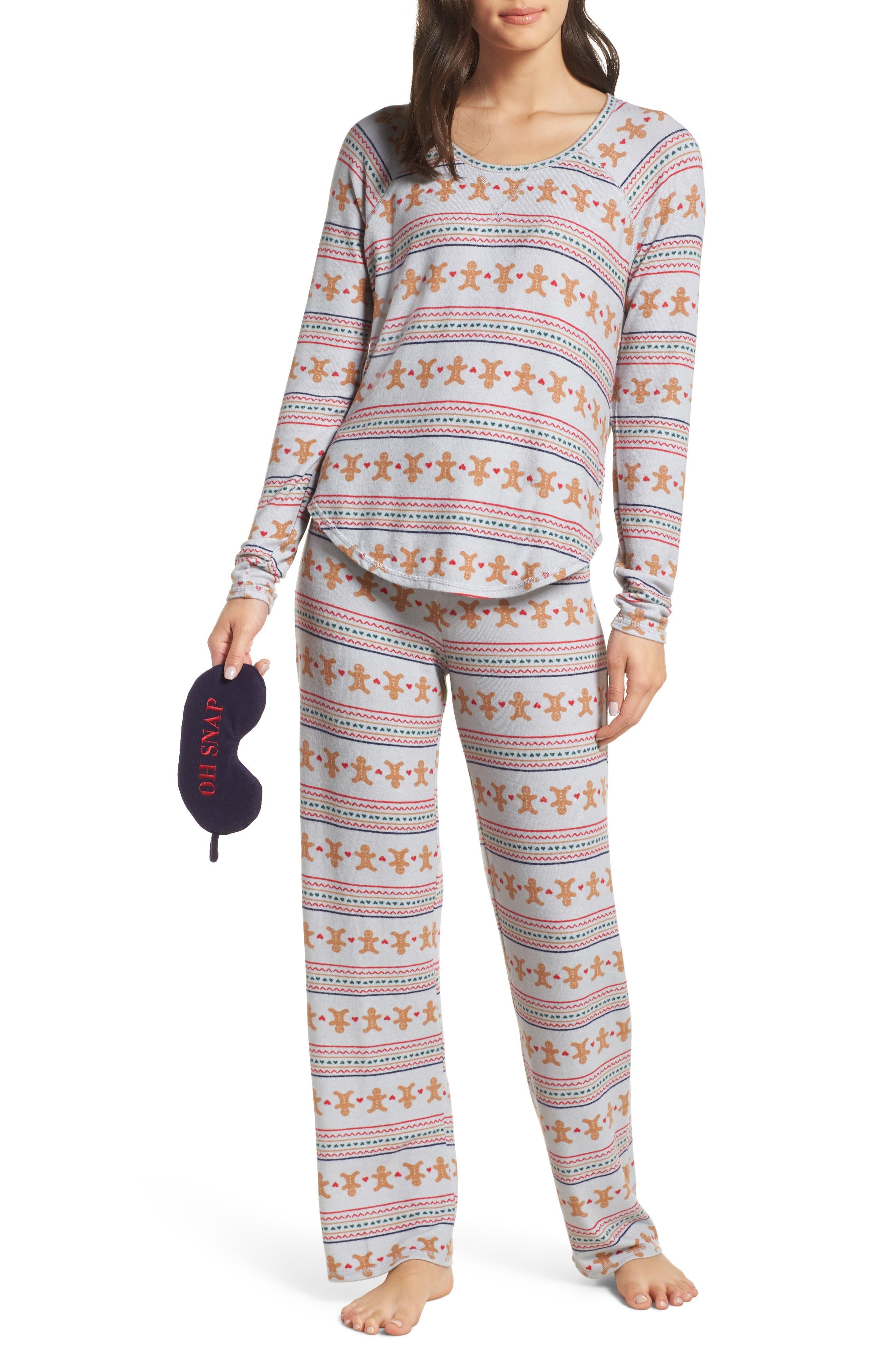Knit Girlfriend Pajamas & Eye Mask,                             Main thumbnail 1, color,                             GREY MICRO GINGERBREAD
