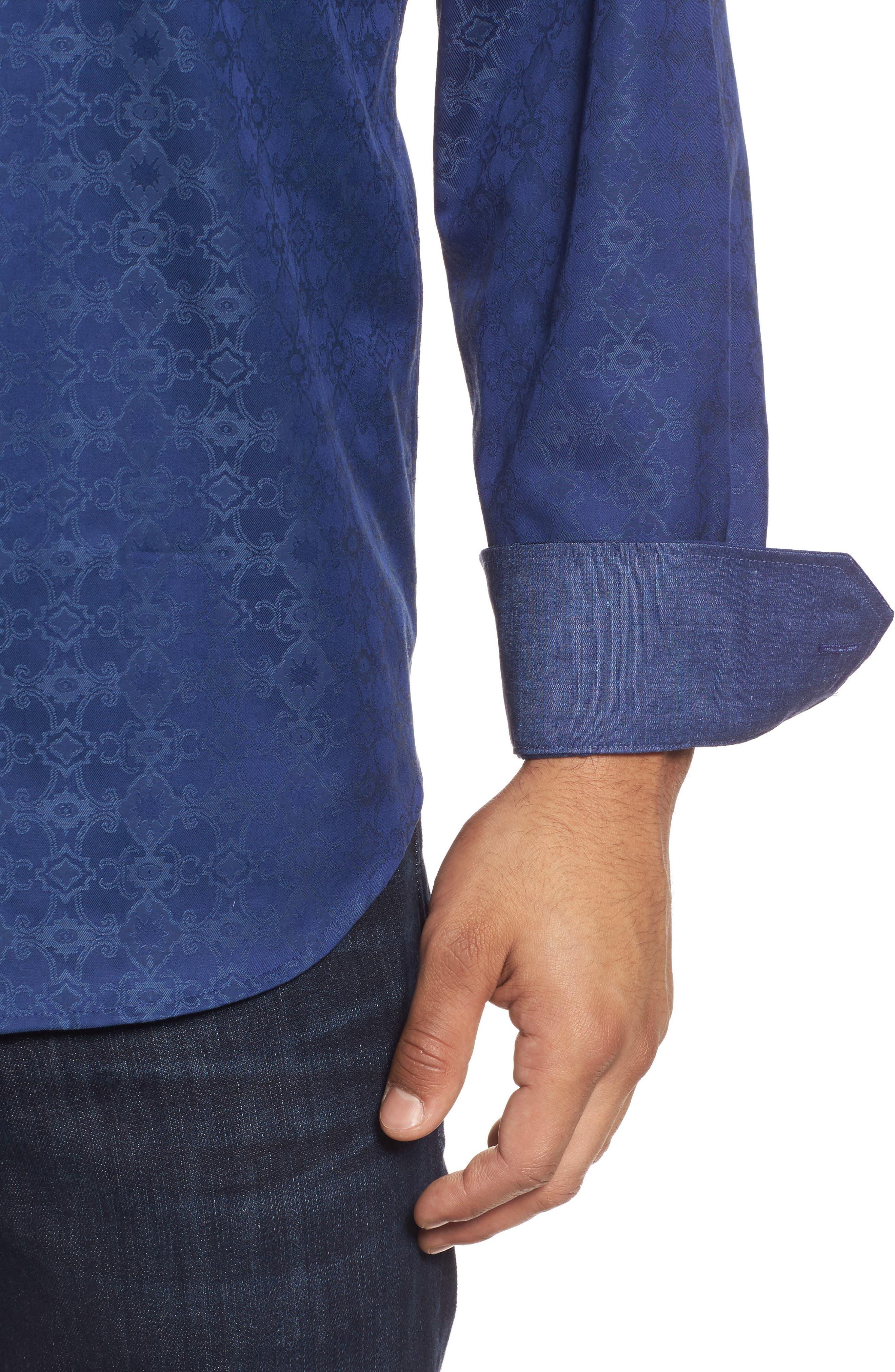 Classic Fit Filigree Jacquard Sport Shirt,                             Alternate thumbnail 4, color,