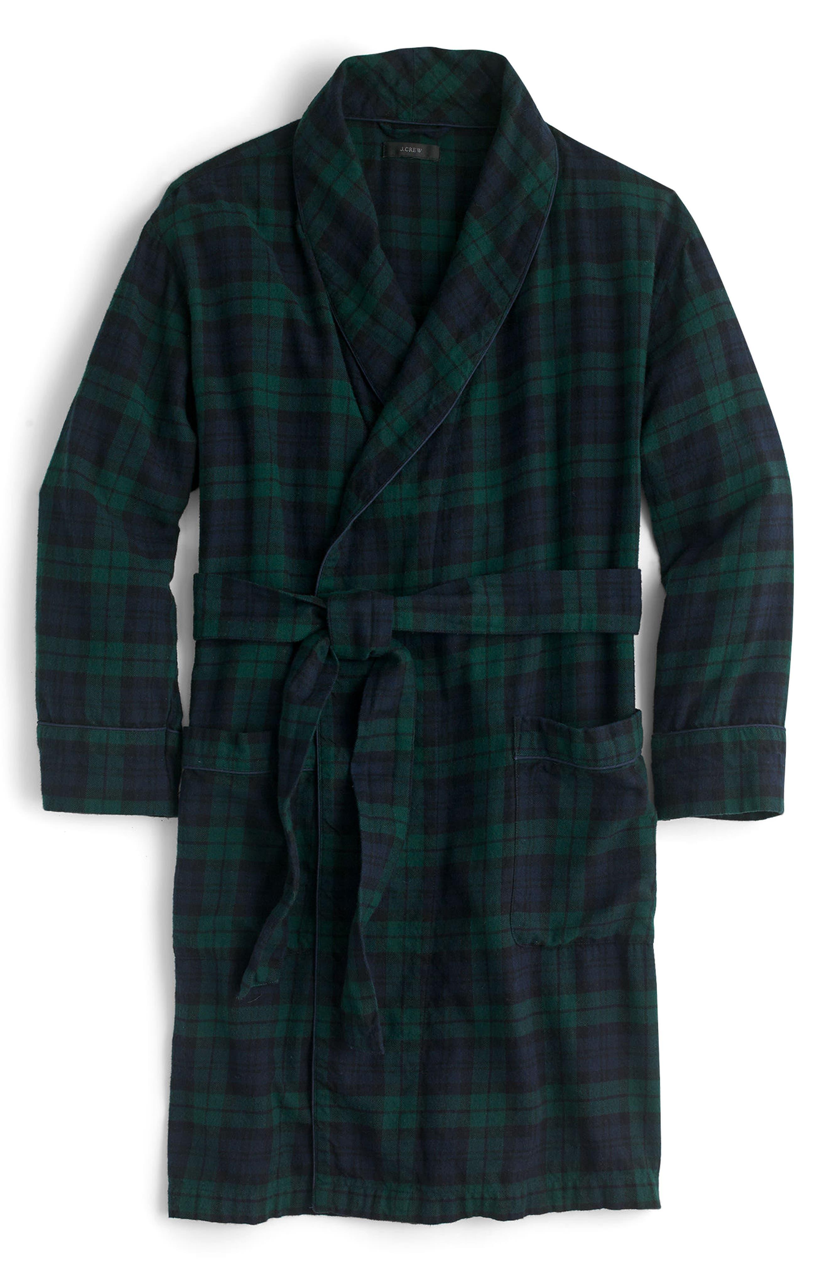 Blackwatch Flannel Short Robe,                             Alternate thumbnail 4, color,                             001