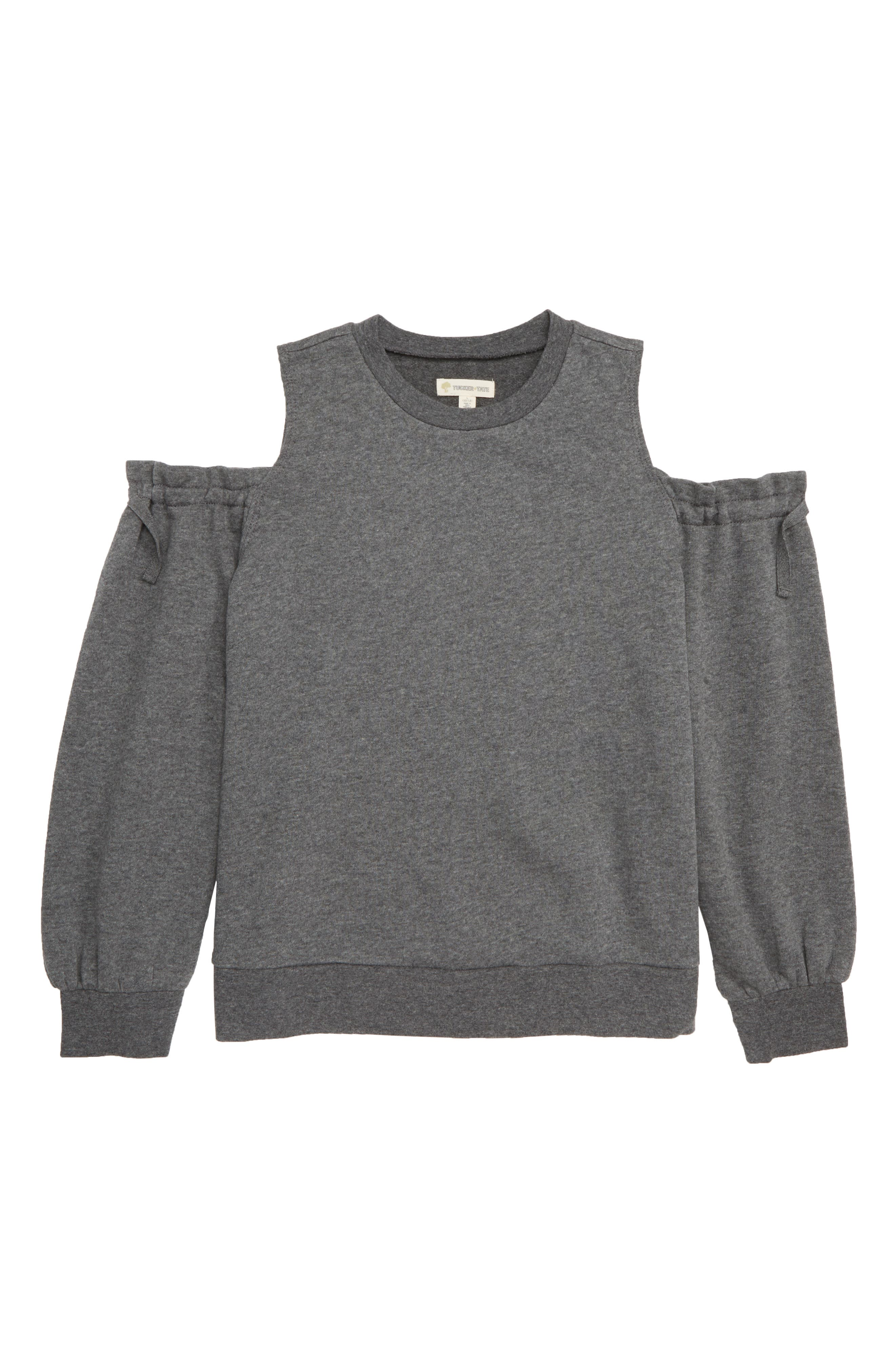 Cold Shoulder Sweatshirt,                             Main thumbnail 1, color,                             GREY CHARCOAL HEATHER