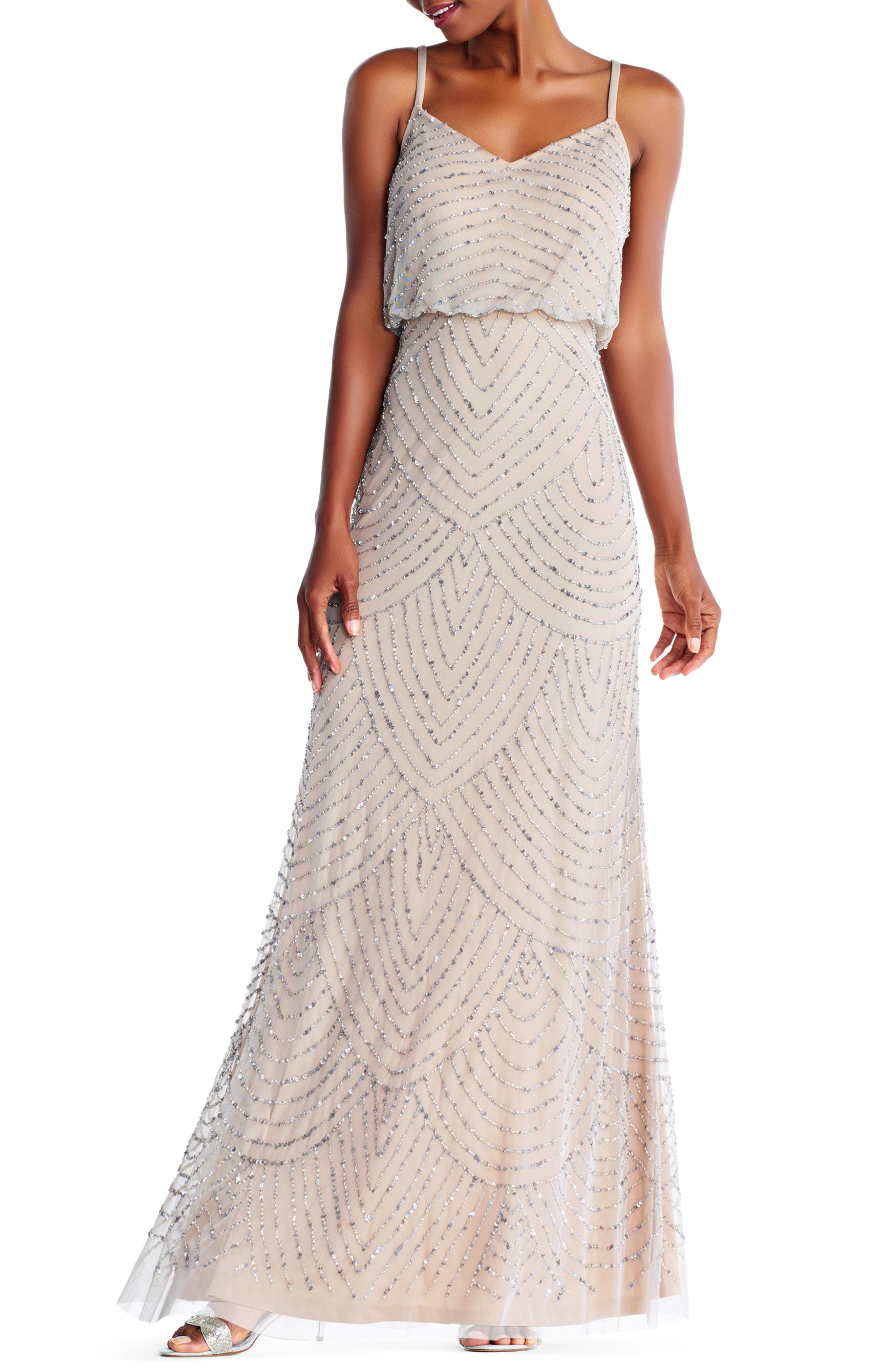 Embellished Blouson Gown,                         Main,                         color, SILVER/ NUDE