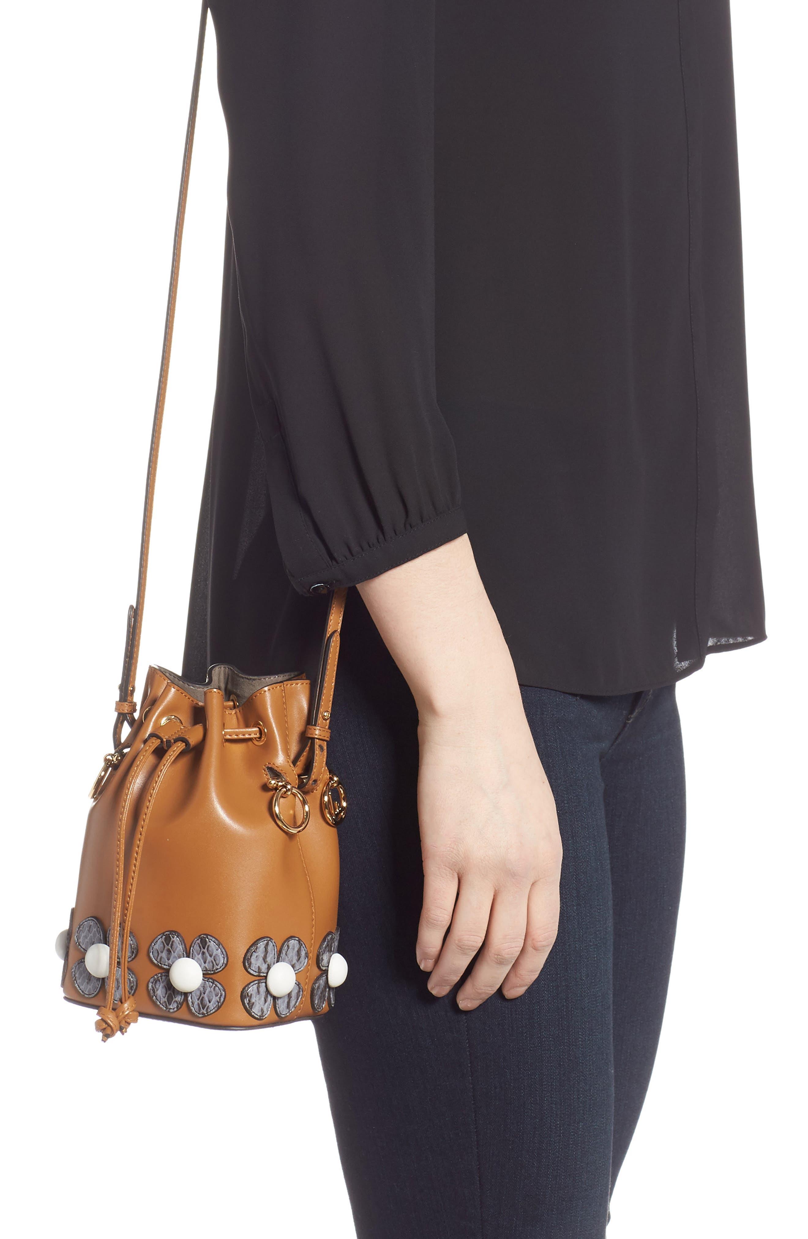 Mon Tresor Embellished Leather Bucket Bag,                             Alternate thumbnail 3, color,                             CARAMEL