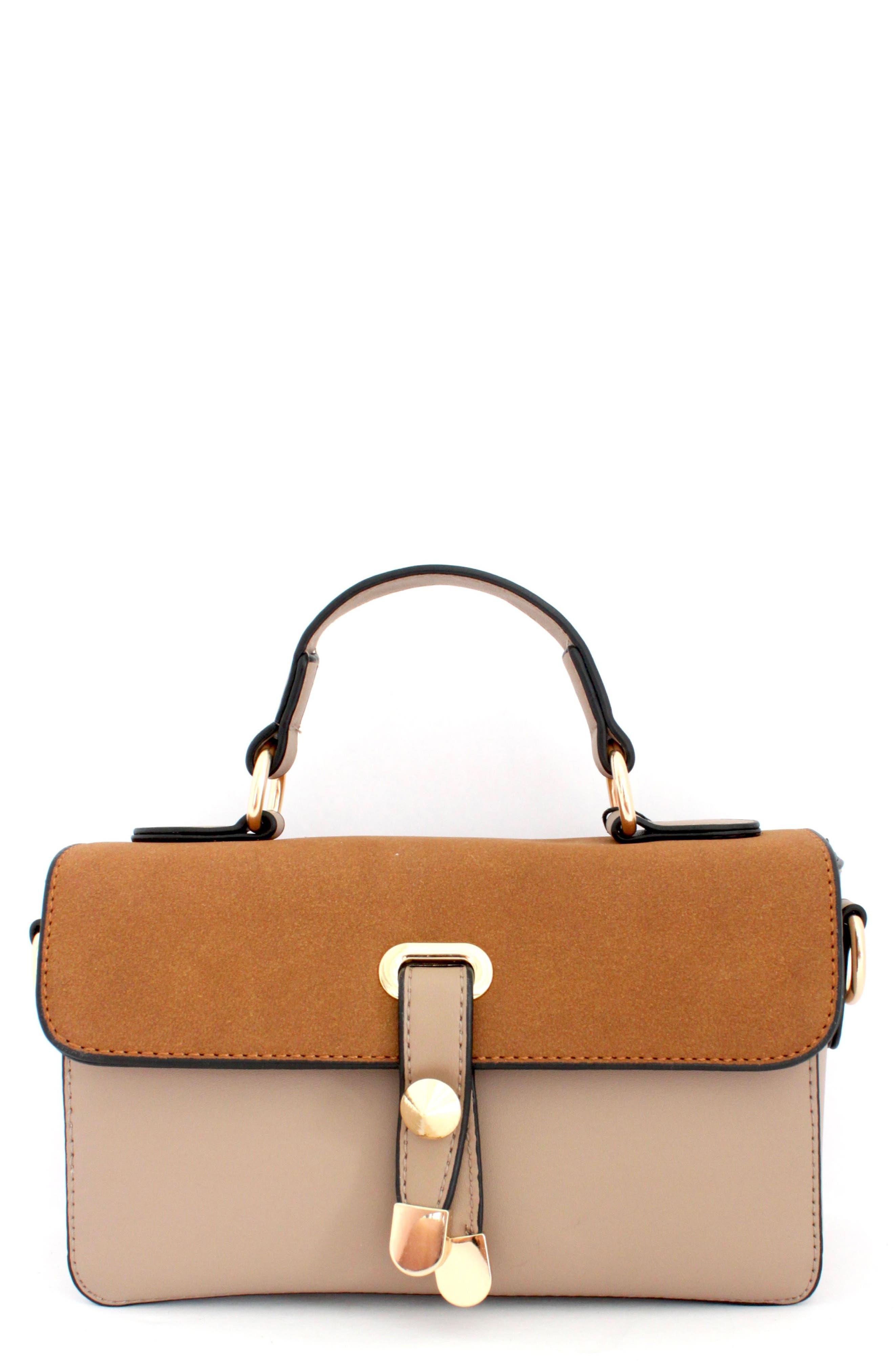 Colorblock Faux Leather Satchel,                         Main,                         color, CINNAMON