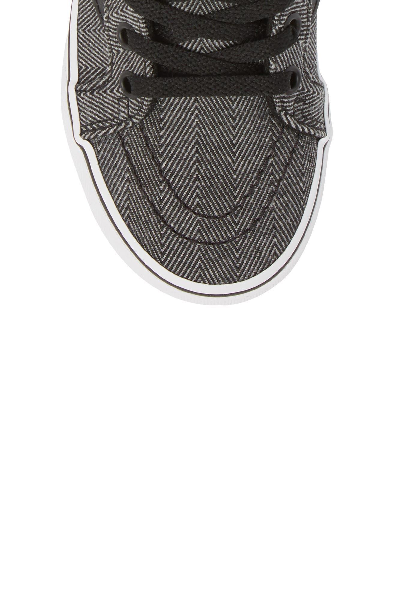 'Sk8-Hi' Sneaker,                             Alternate thumbnail 5, color,                             HERRINGBONE BLACK/ TRUE WHITE