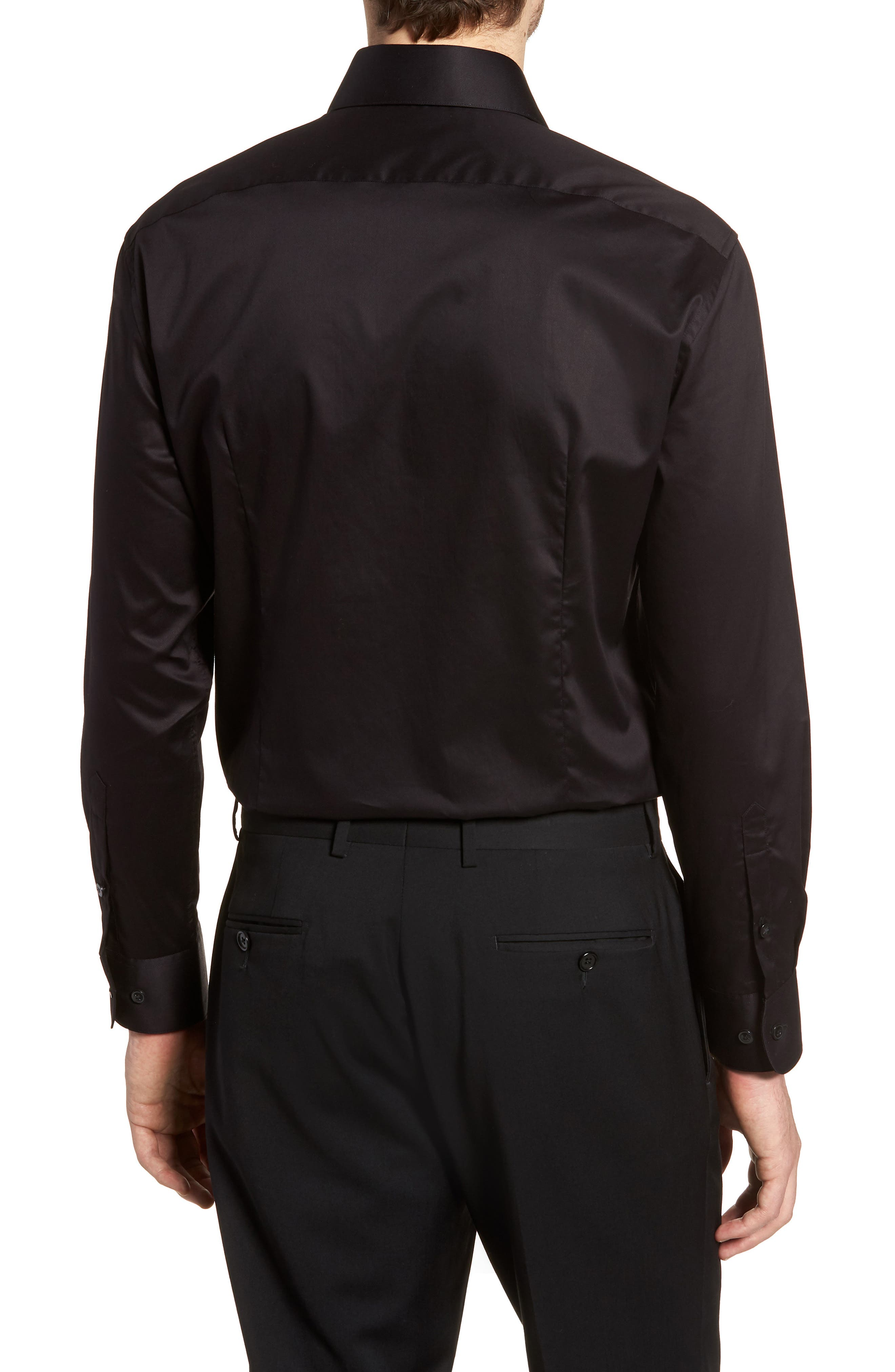 Slim Fit Stretch Solid Dress Shirt,                             Alternate thumbnail 3, color,                             BLACK