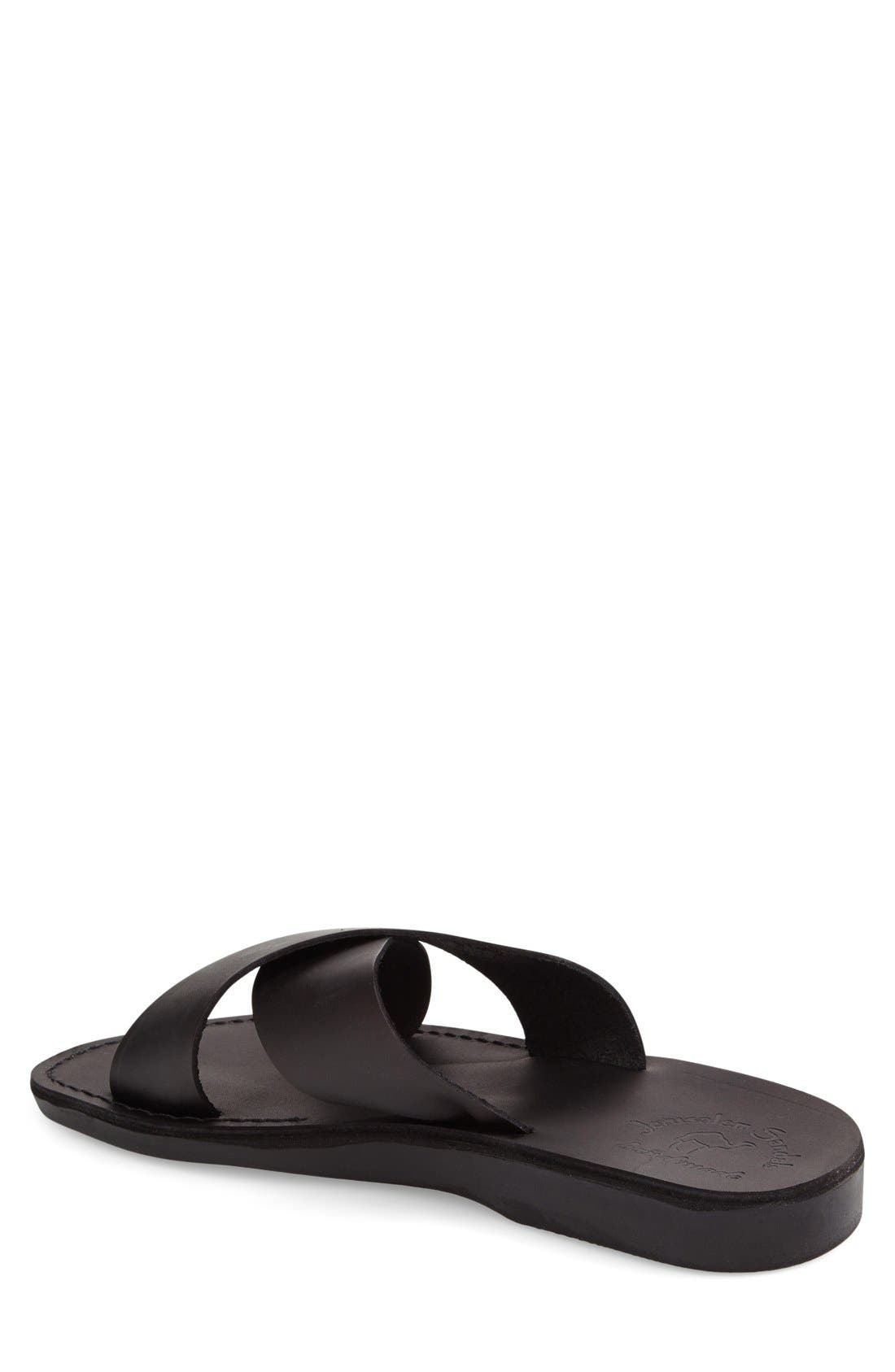'Elan' Slide Sandal,                             Alternate thumbnail 2, color,                             BLACK LEATHER