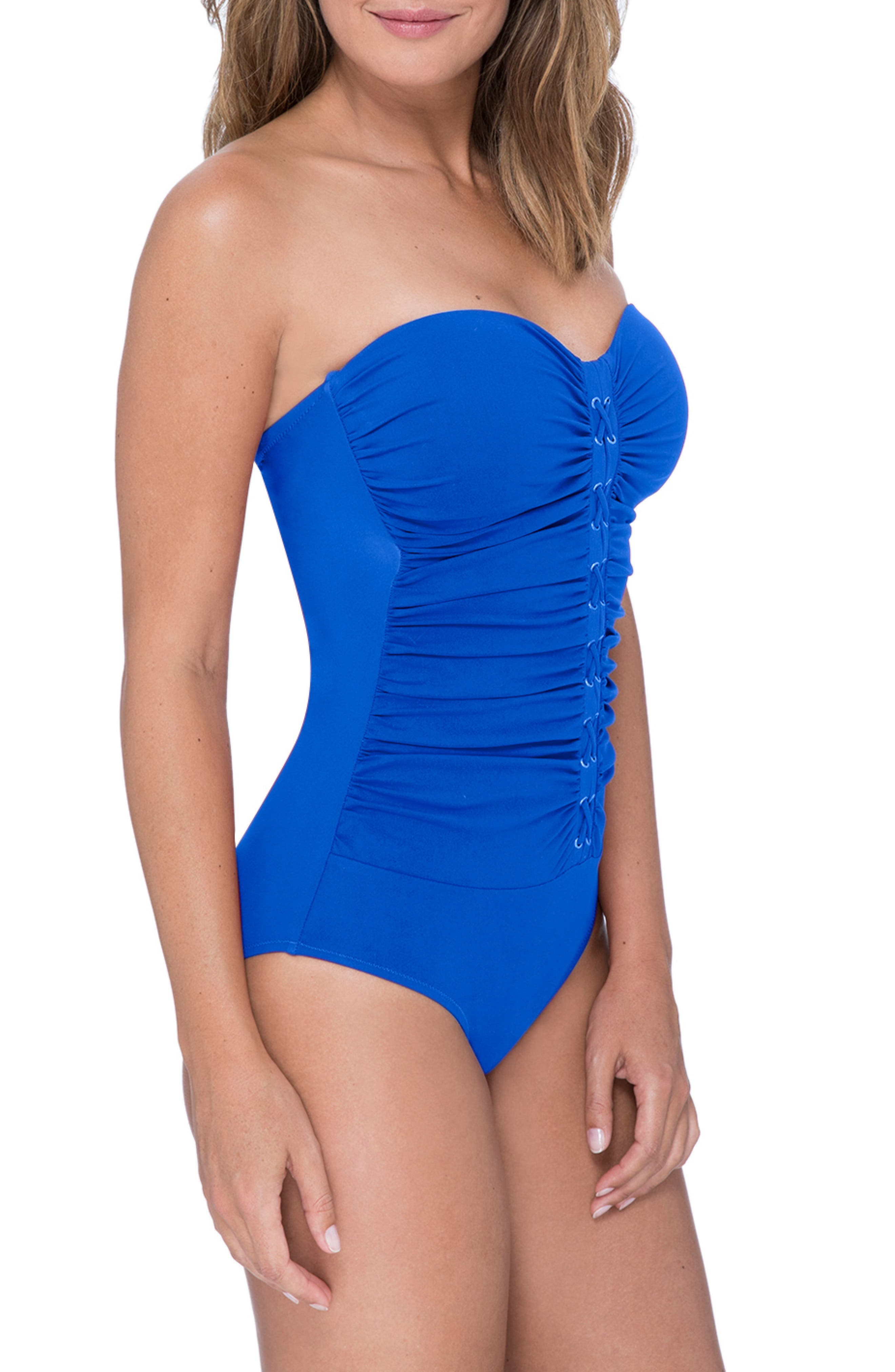 Lace-Up Strapless One-Piece Swimsuit,                             Alternate thumbnail 3, color,                             SAPPHIRE