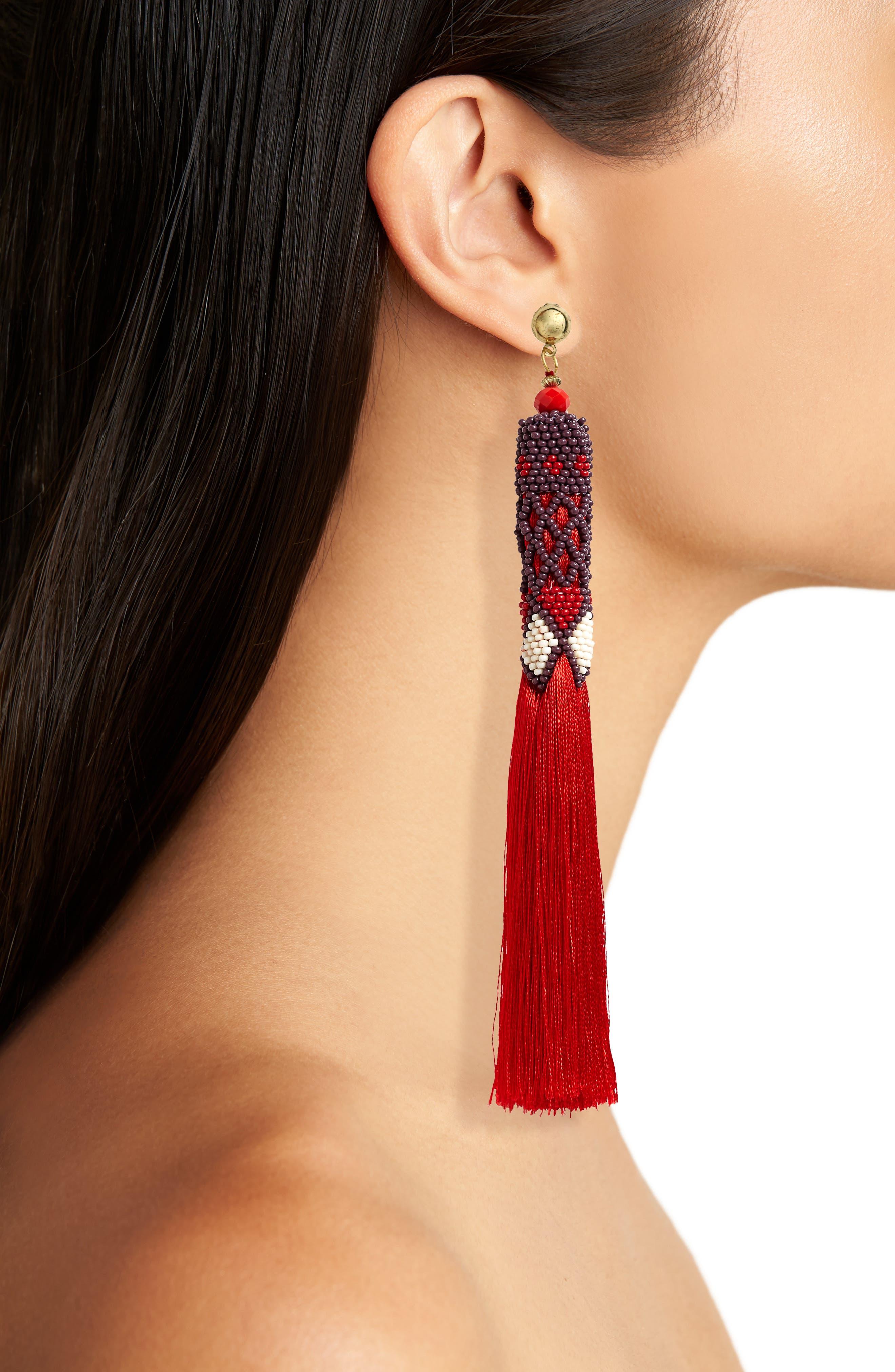 Beaded Tassel Earrings,                             Alternate thumbnail 2, color,                             600