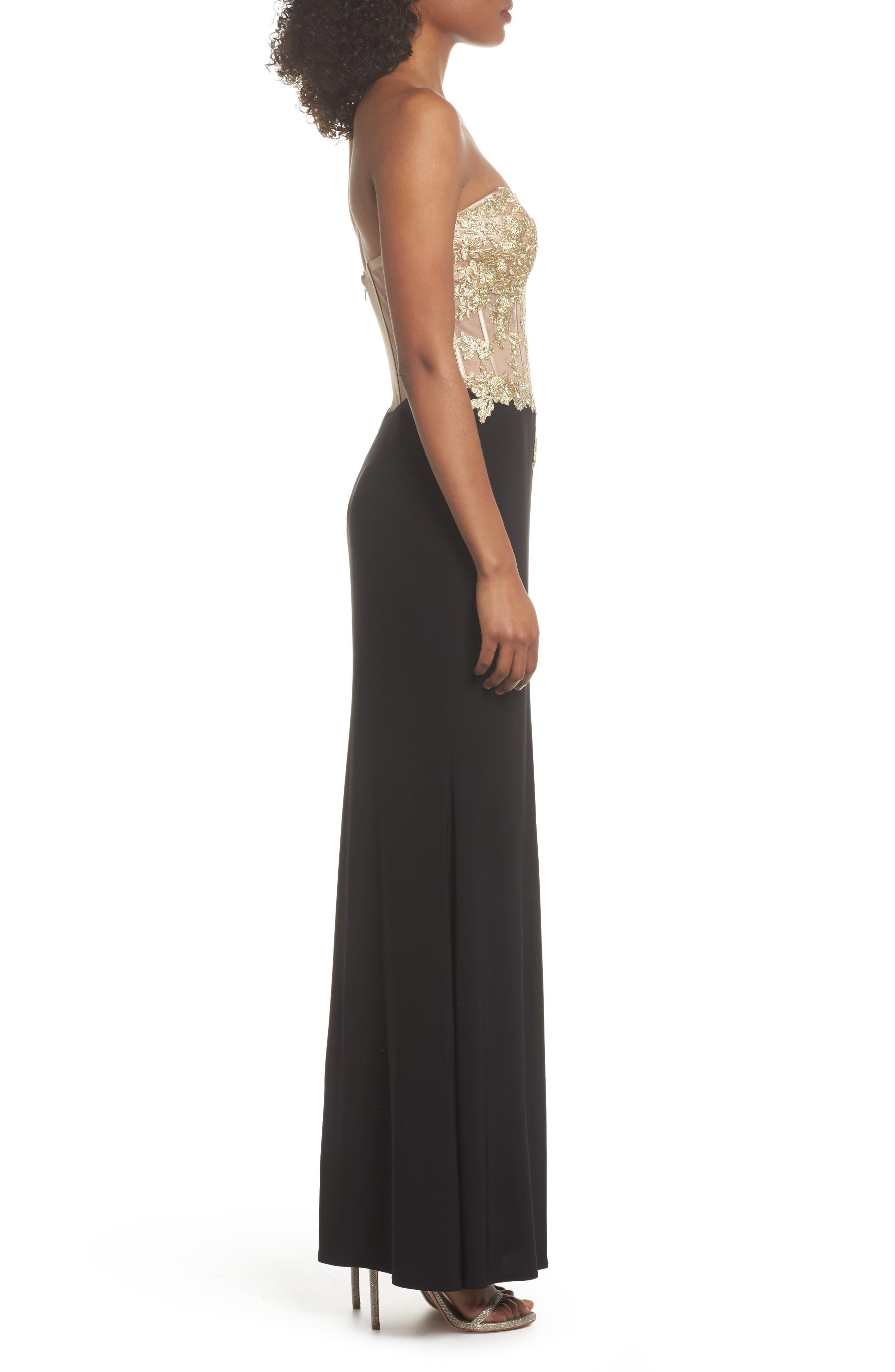 Appliqué Strapless Bustier Gown,                             Alternate thumbnail 3, color,                             GOLD/BLACK