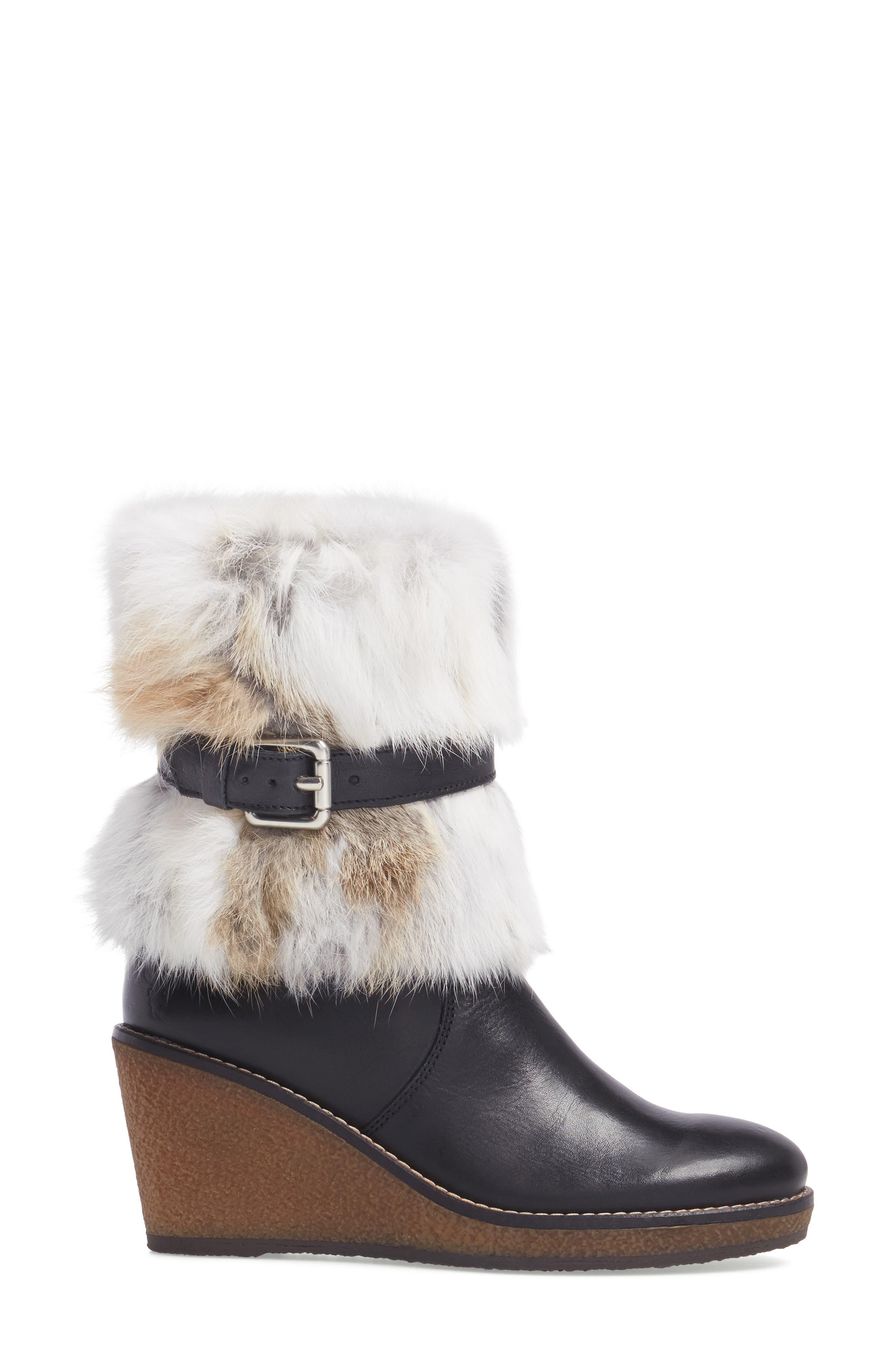 Tasarla Genuine Rabbit Fur Trim Boot,                             Alternate thumbnail 3, color,                             001