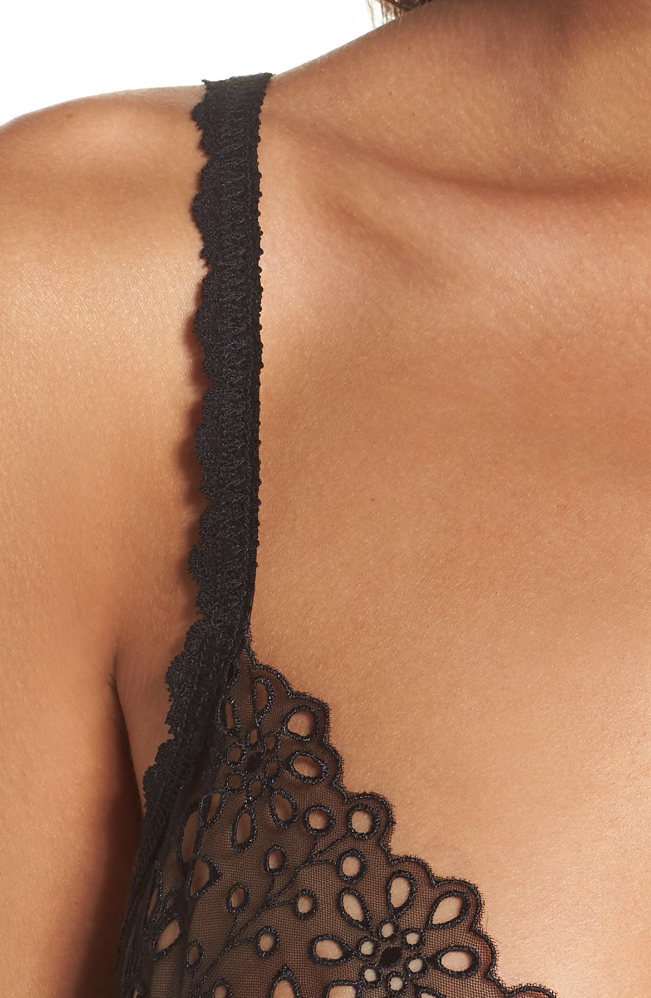 Ethereal Eyelet & Lace Bralette,                             Alternate thumbnail 4, color,                             001