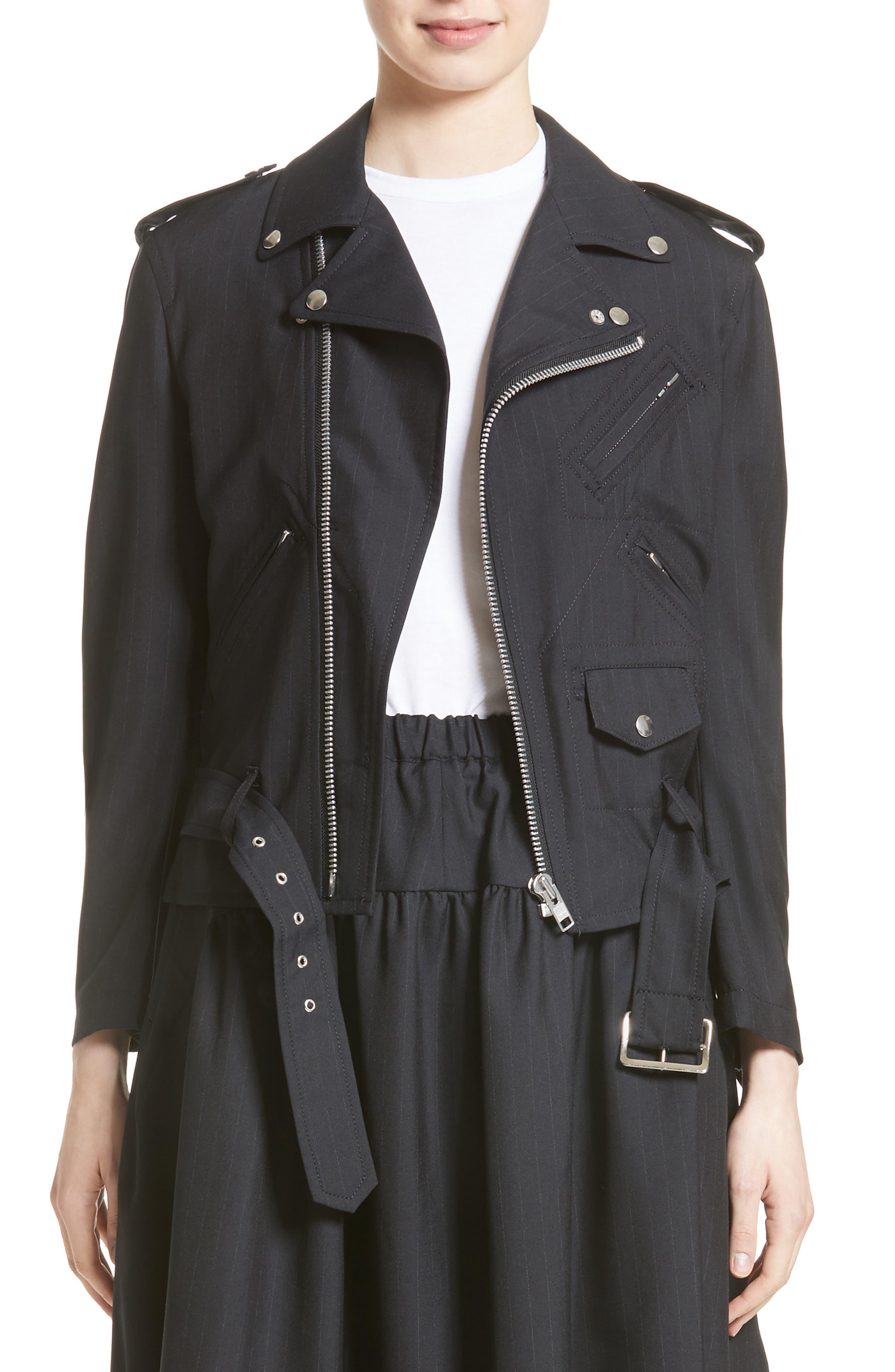 Pinstripe Tropical Wool Moto Jacket,                         Main,                         color, 410