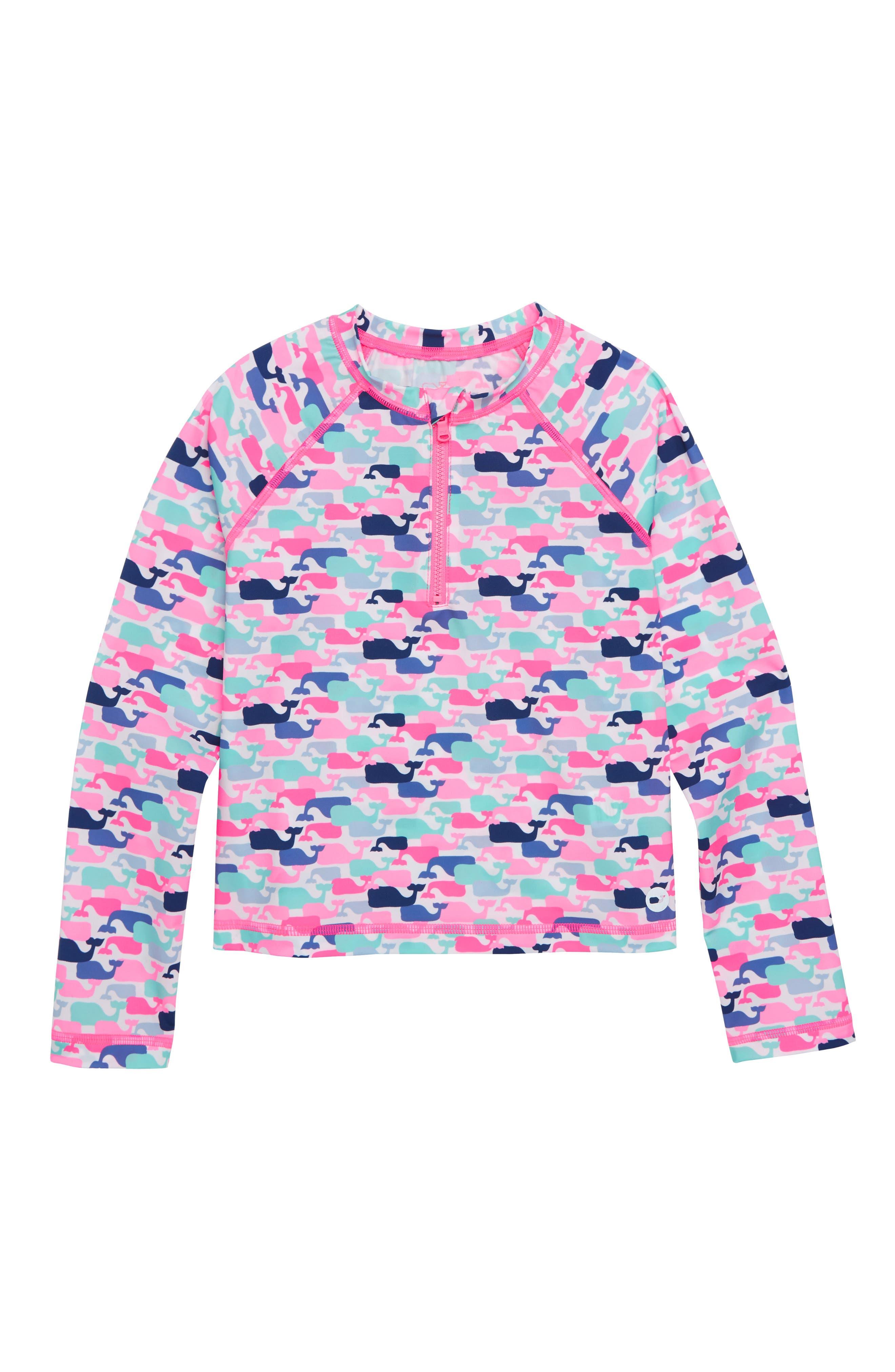 Whale Pattern Long Sleeve Rashguard,                         Main,                         color, WHITE CAP