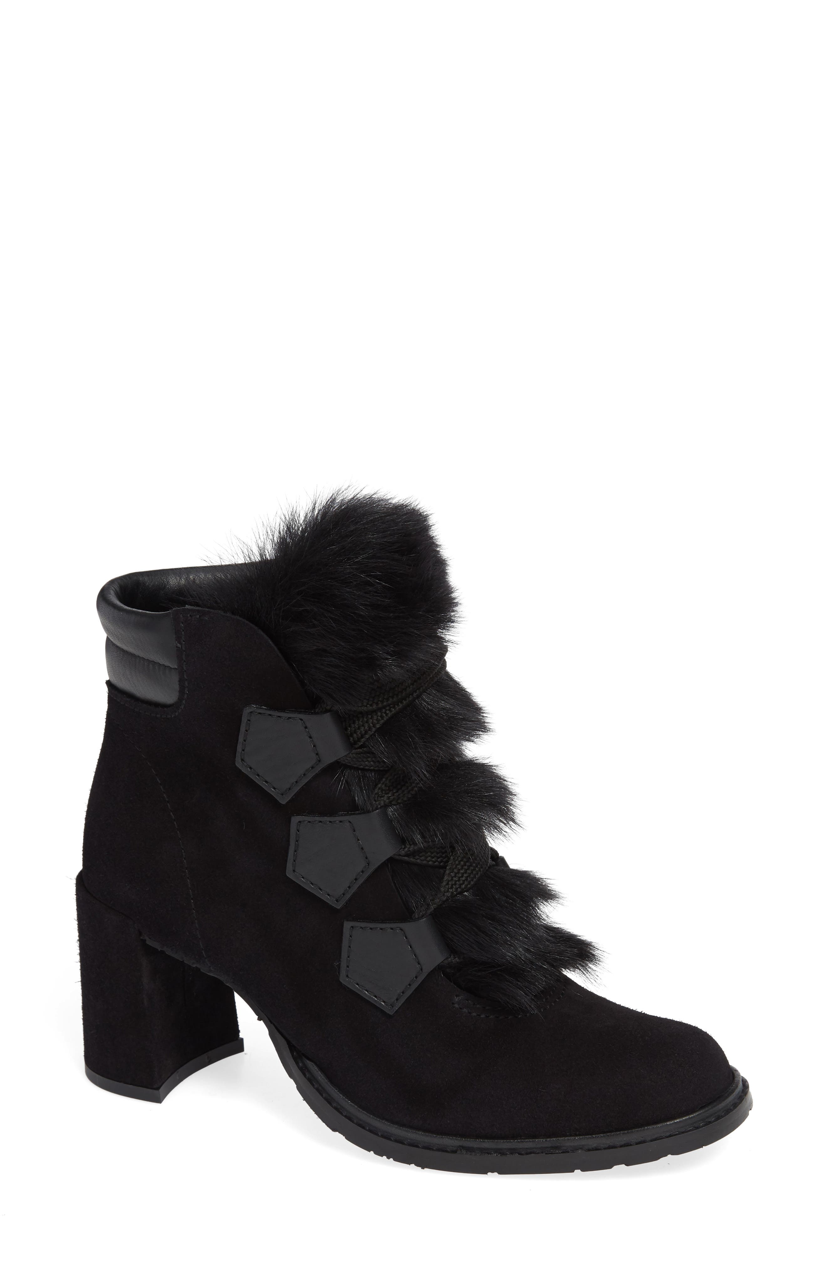 Wilmette Bootie with Genuine Shearling Trim,                             Main thumbnail 1, color,                             BLACK CHURRA
