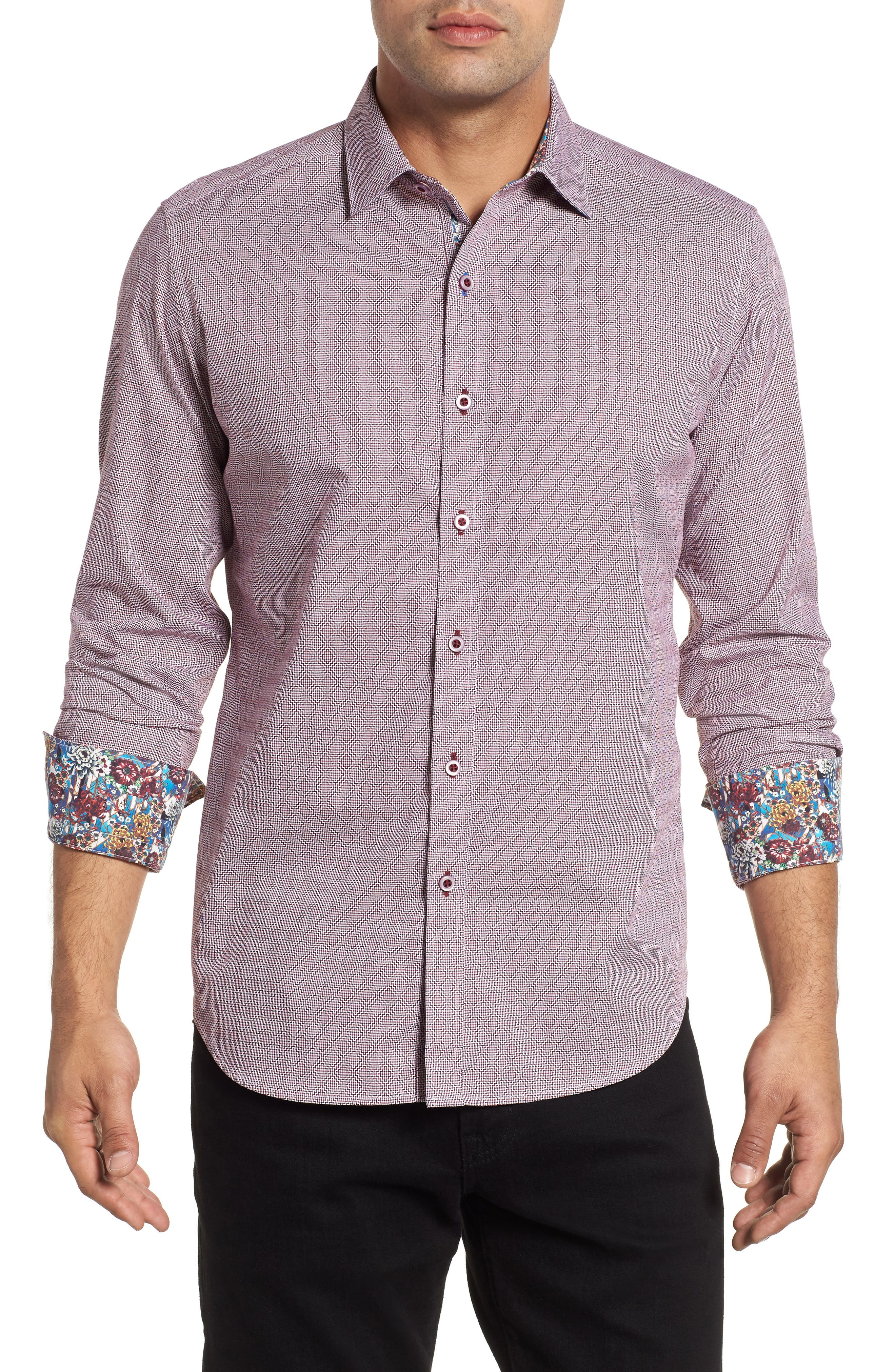 Carven Classic Fit Geo Print Sport Shirt,                         Main,                         color, RED