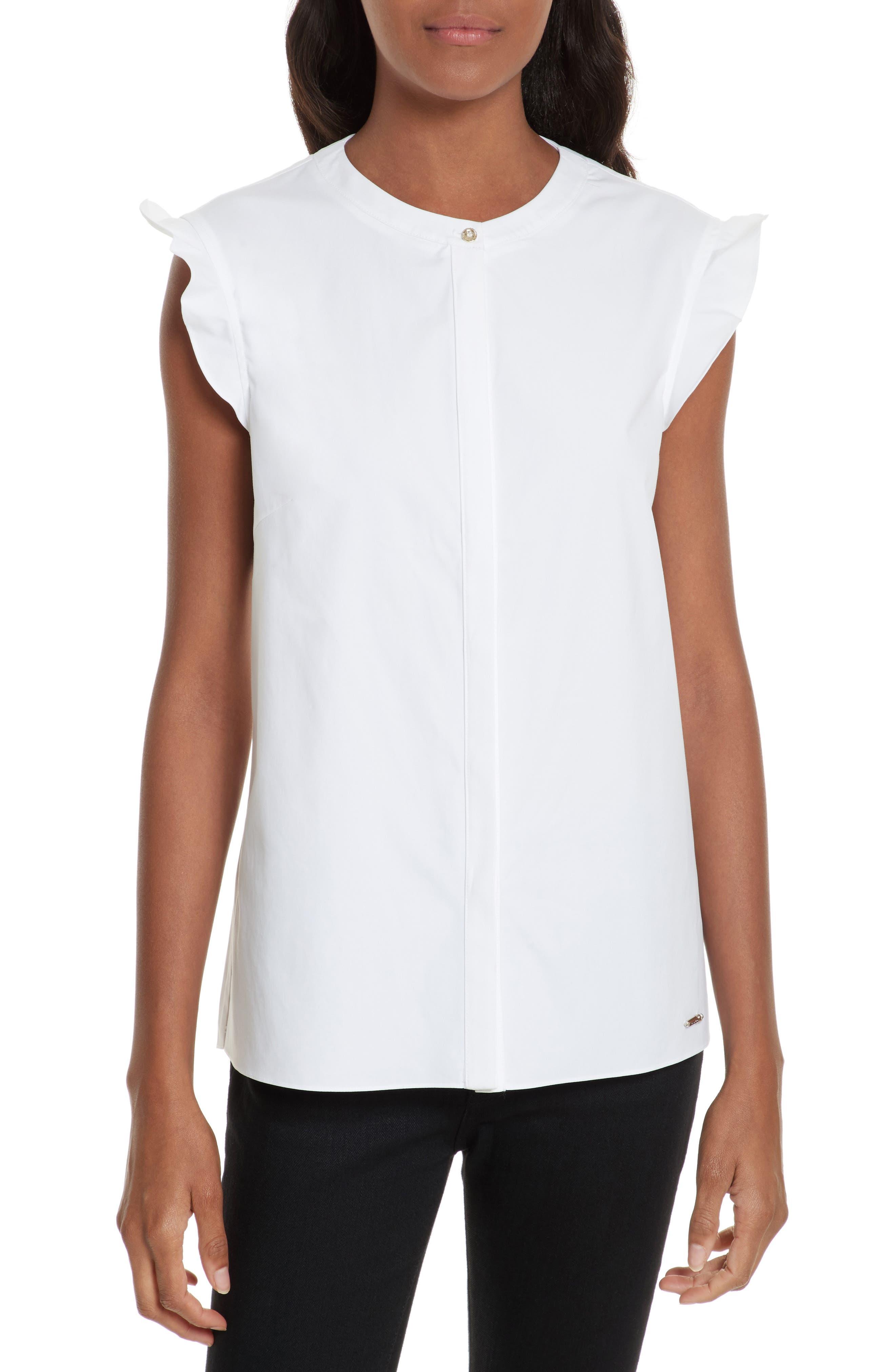 Veryien Ruffle Trim Shirt,                         Main,                         color, 110