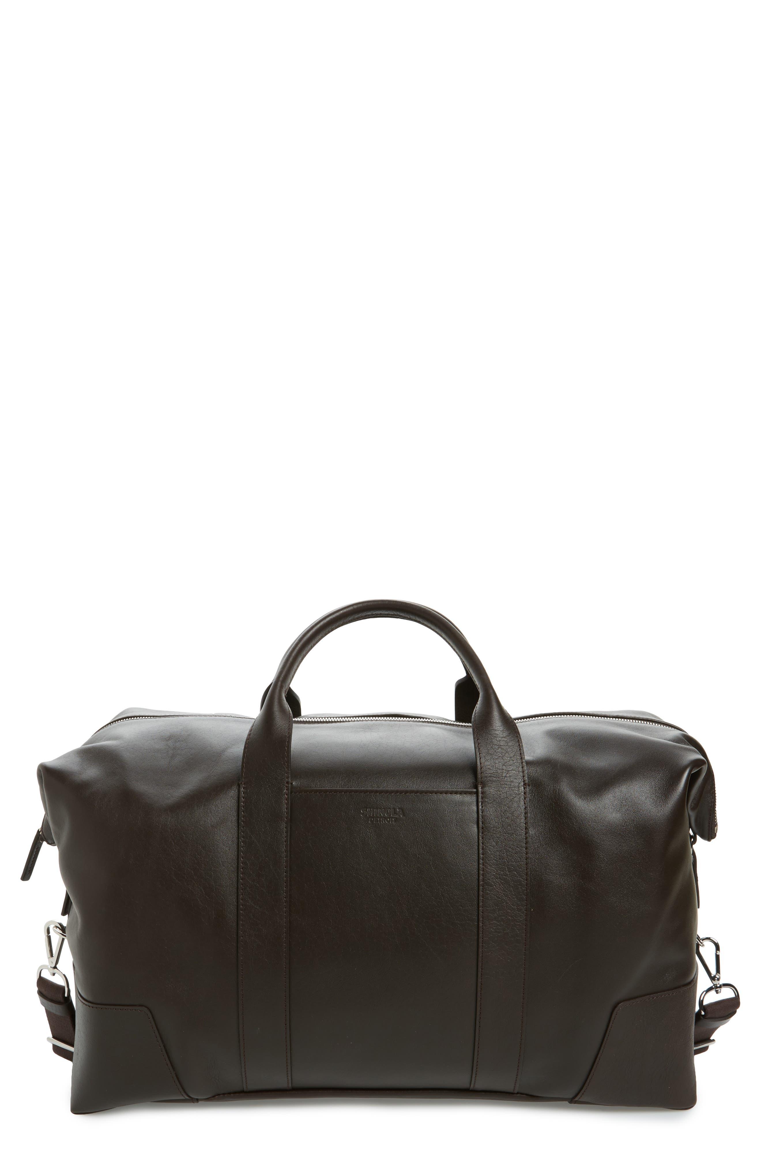 Signature Leather Duffel Bag,                             Main thumbnail 1, color,                             DEEP BROWN