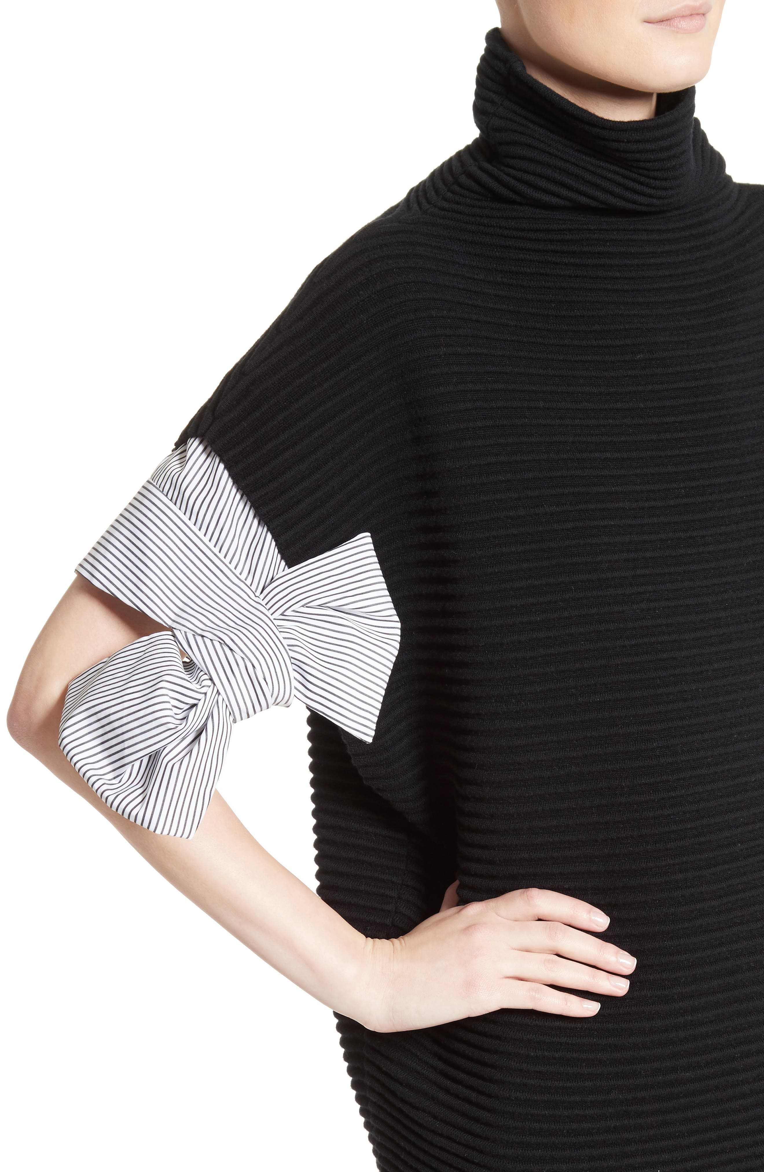 Bow Sleeve Funnel Neck Sweater,                             Alternate thumbnail 4, color,                             001