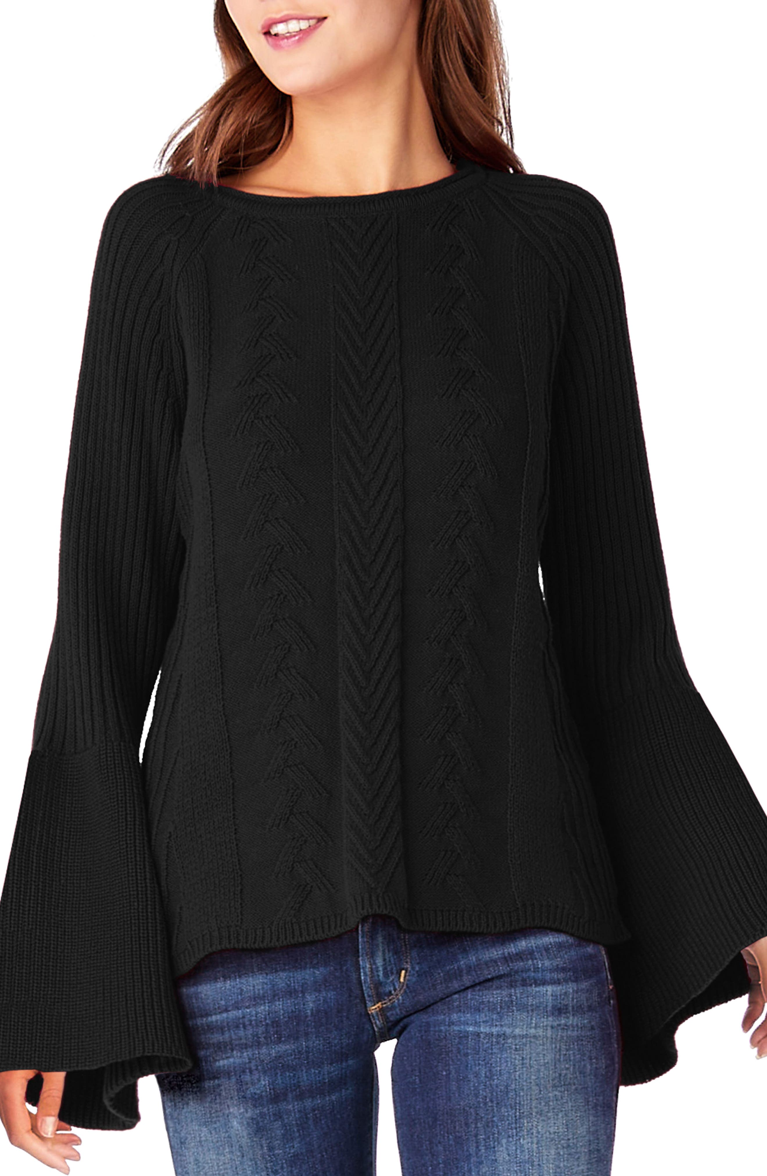 Bell Sleeve Knit Sweater,                             Main thumbnail 1, color,                             001