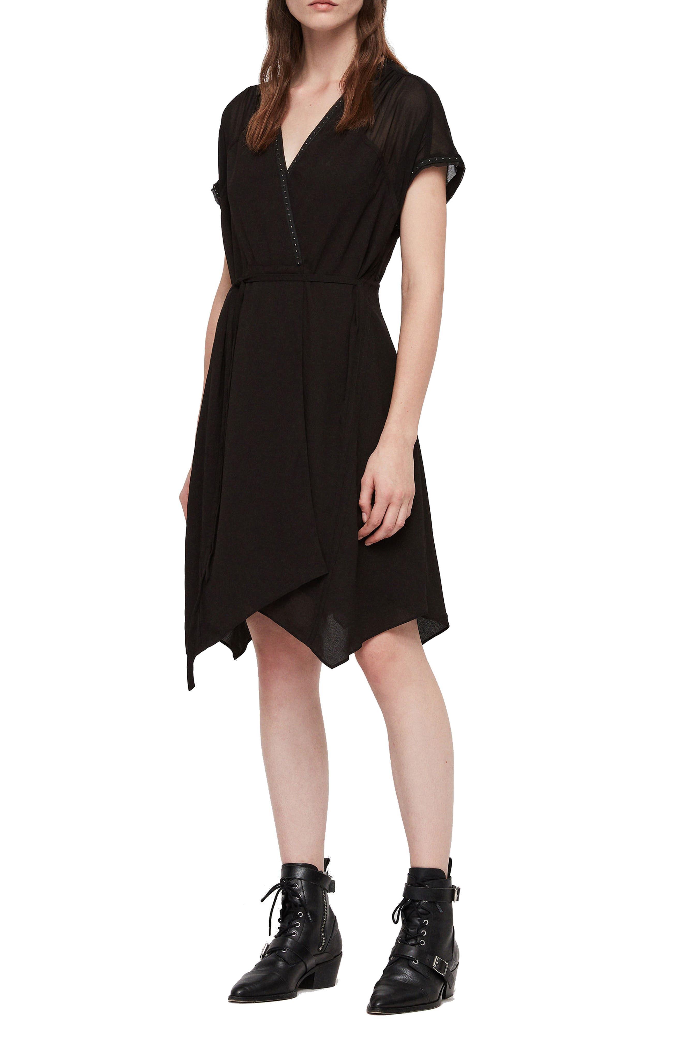 ALLSAINTS Claria Asymmetrical Hem Dress in Black