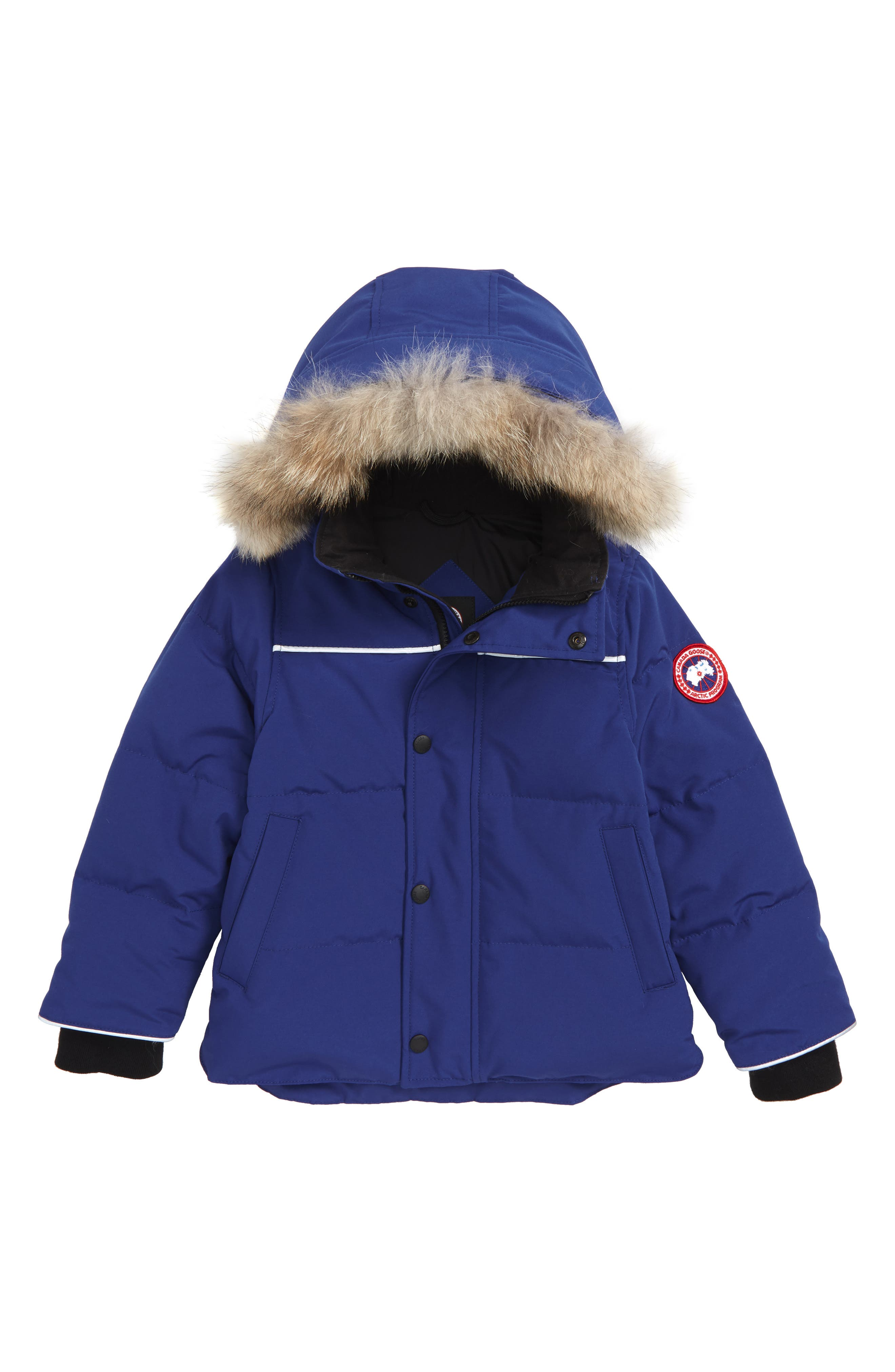 Snowy Owl Down Parka with Genuine Coyote Fur Trim,                             Main thumbnail 1, color,                             PACIFIC BLUE