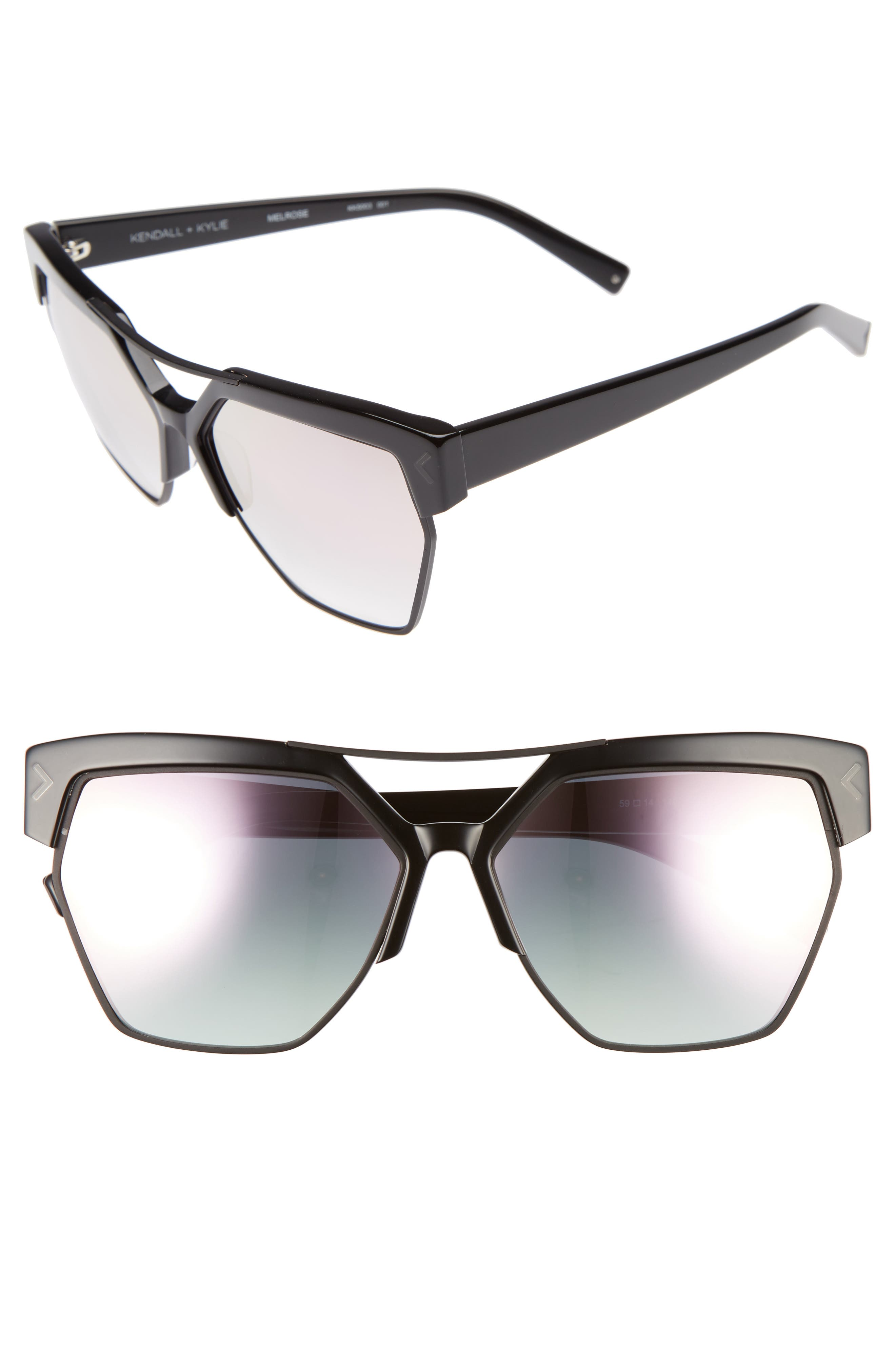 55mm Retro Sunglasses,                             Alternate thumbnail 5, color,