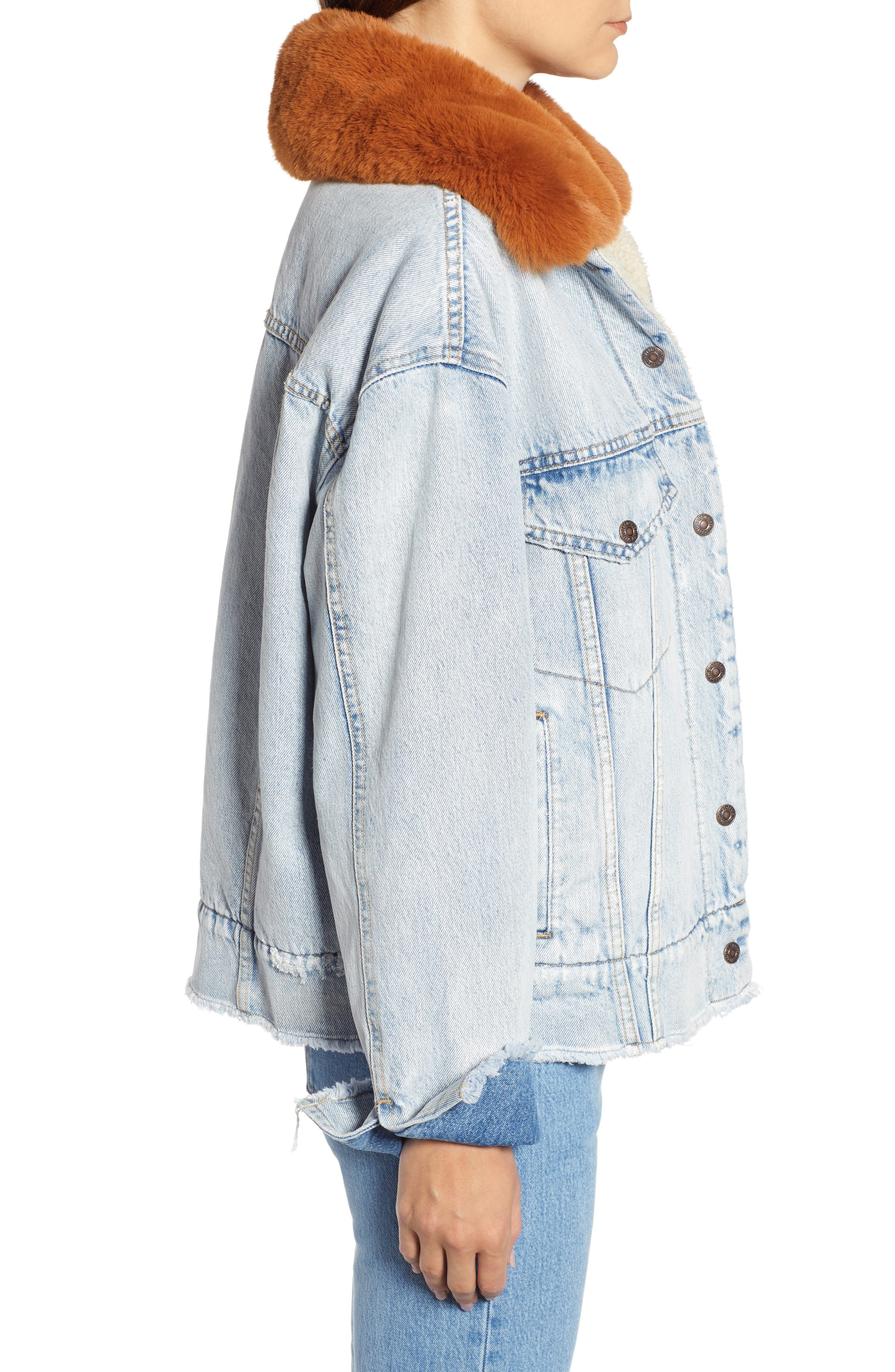 Oversize Faux Shearling Lined Denim Trucker Jacket with Removable Faux Fur Collar,                             Alternate thumbnail 3, color,                             401