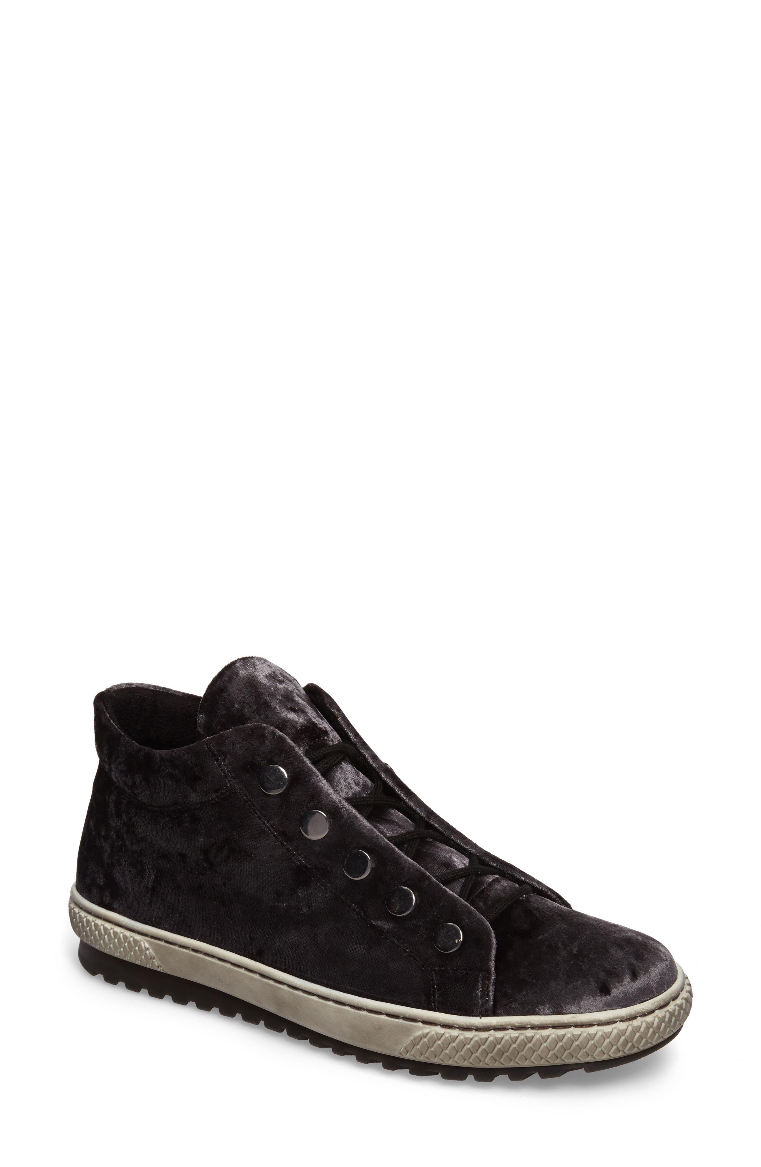 Mid Top Velvet Sneaker,                             Main thumbnail 1, color,                             GREY VELVET