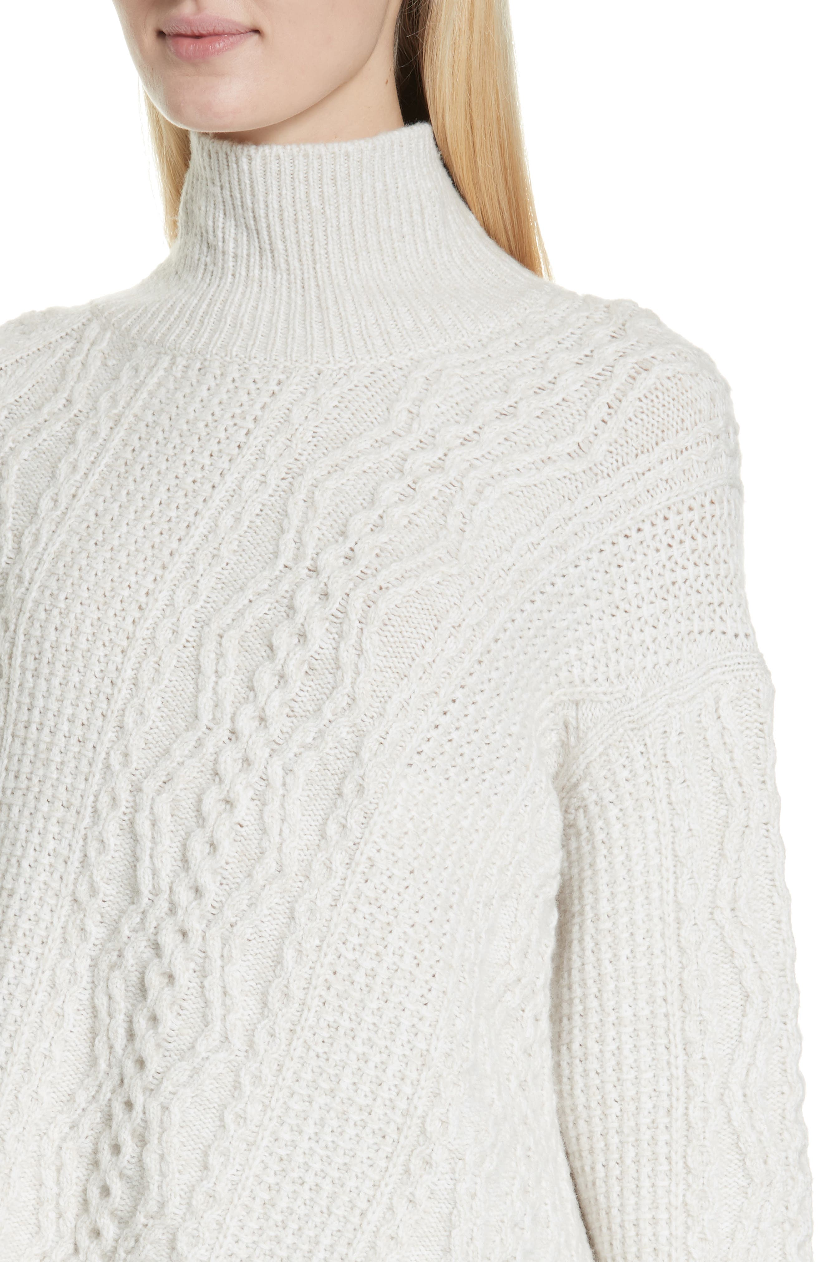 Diagonal Cable Wool Blend Turtleneck Sweater,                             Alternate thumbnail 4, color,                             OFF WHITE/ MARZIPAN
