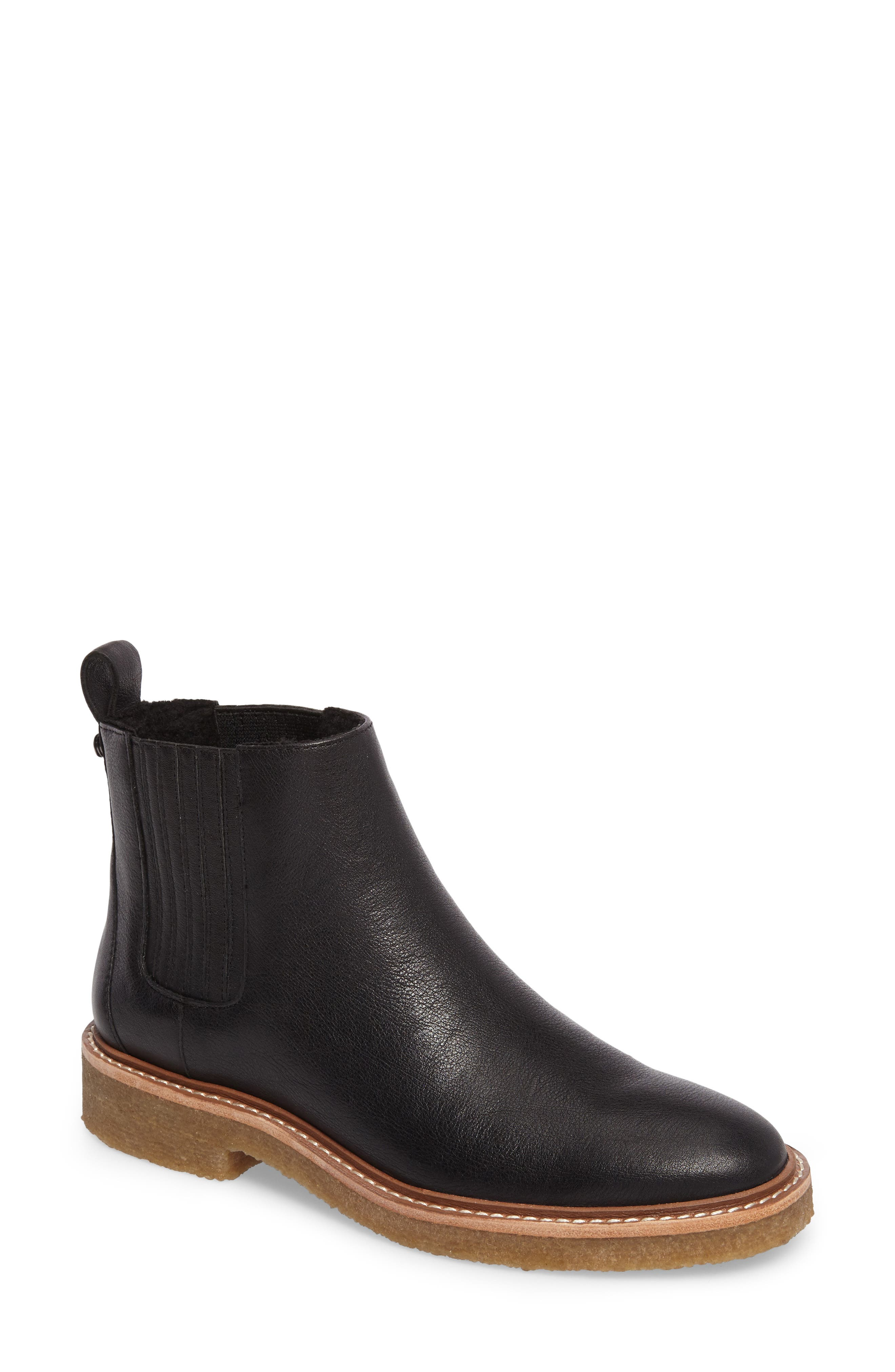Chelsea Faux Shearling Lined Boot,                         Main,                         color, BLACK LEATHER