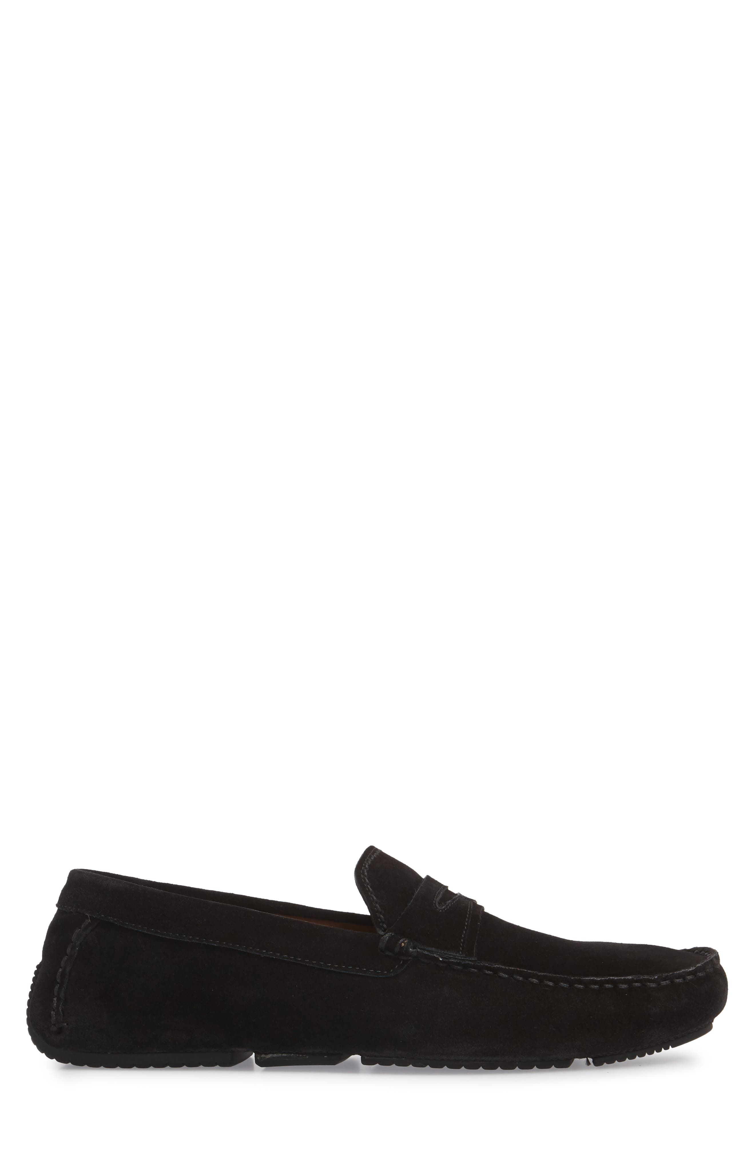 Brandon Weatherproof Driving Loafer,                             Alternate thumbnail 3, color,                             BLACK SUEDE