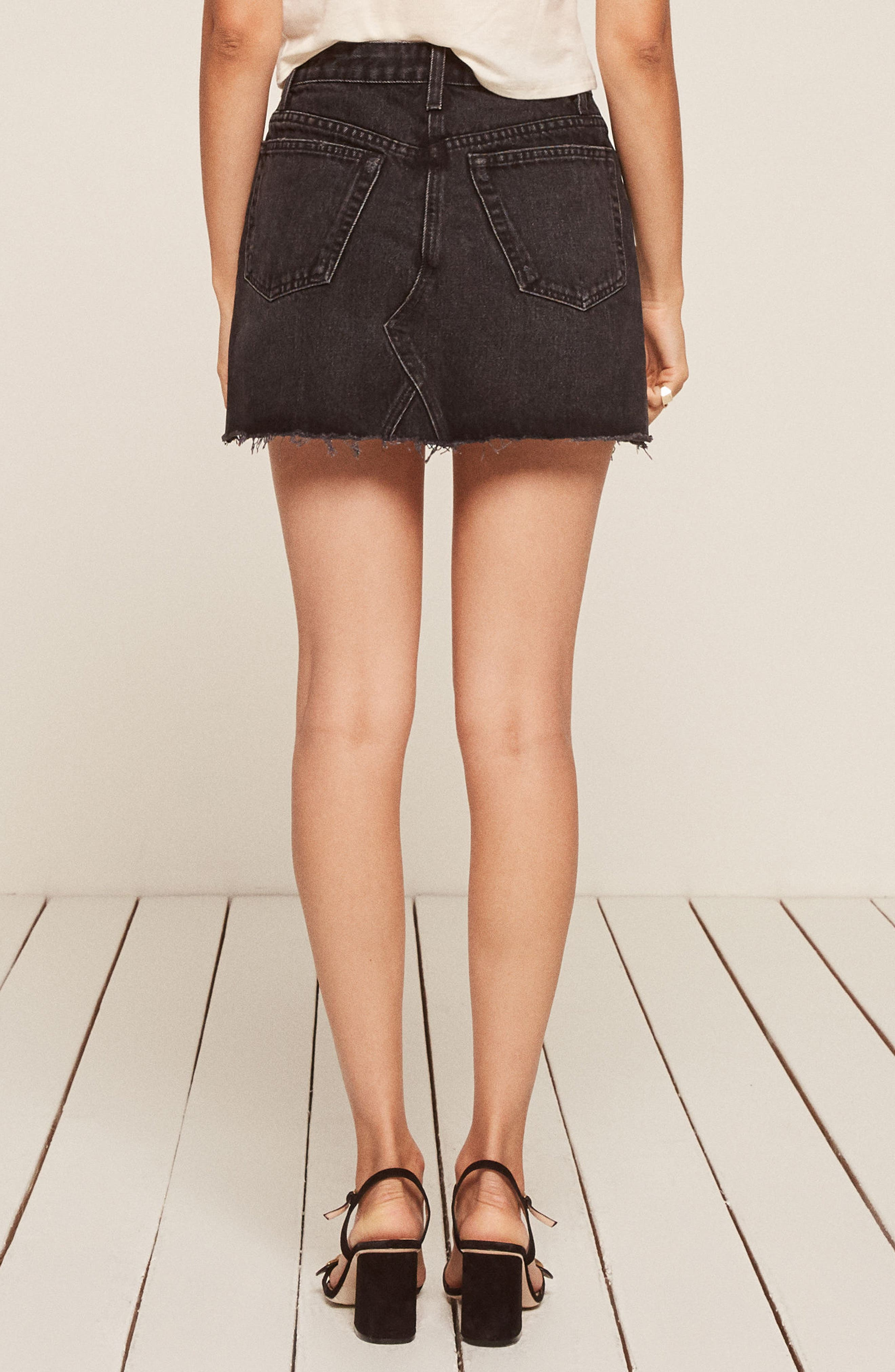 Retooled Denim Miniskirt,                             Alternate thumbnail 2, color,                             001