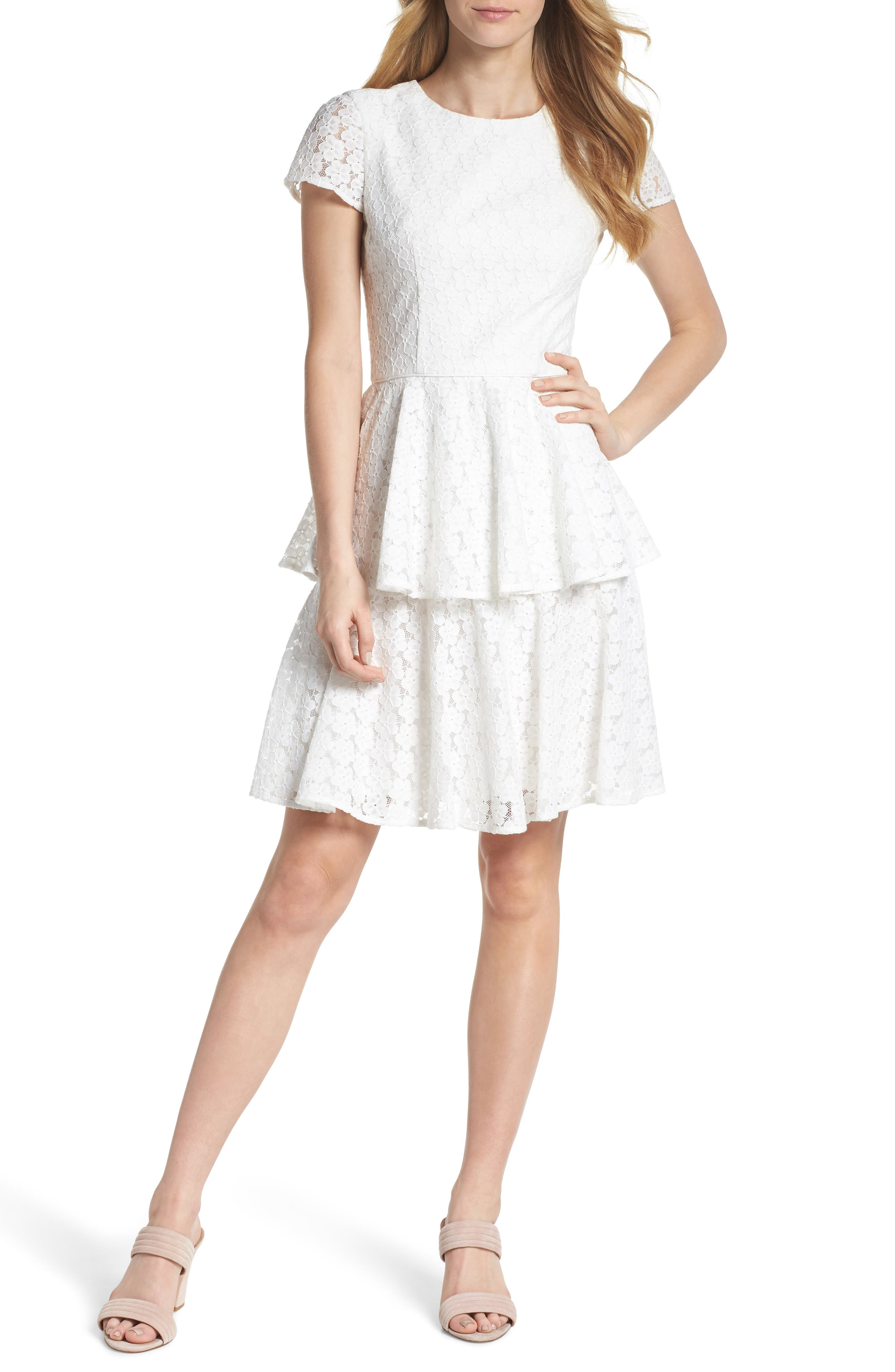 Daisy Lace Tiered Fit & Flare Dress,                         Main,                         color, 120
