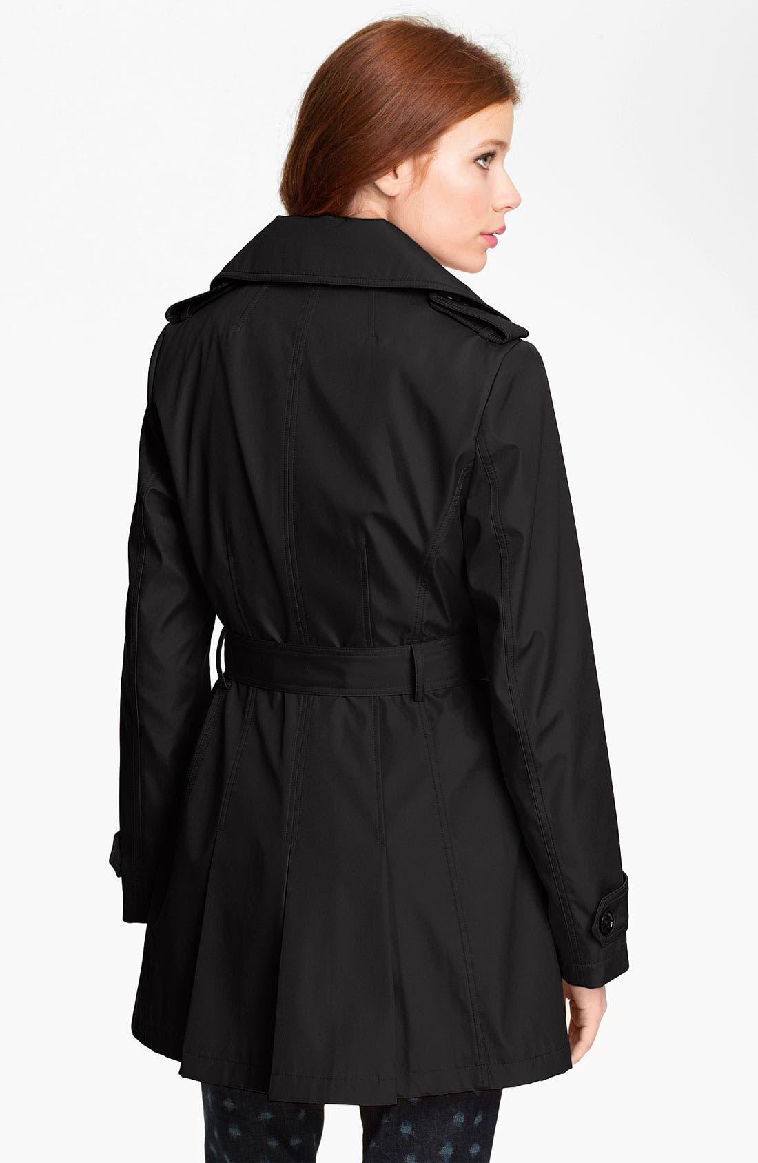 CALVIN KLEIN,                             Skirt Back Trench Coat,                             Alternate thumbnail 2, color,                             001