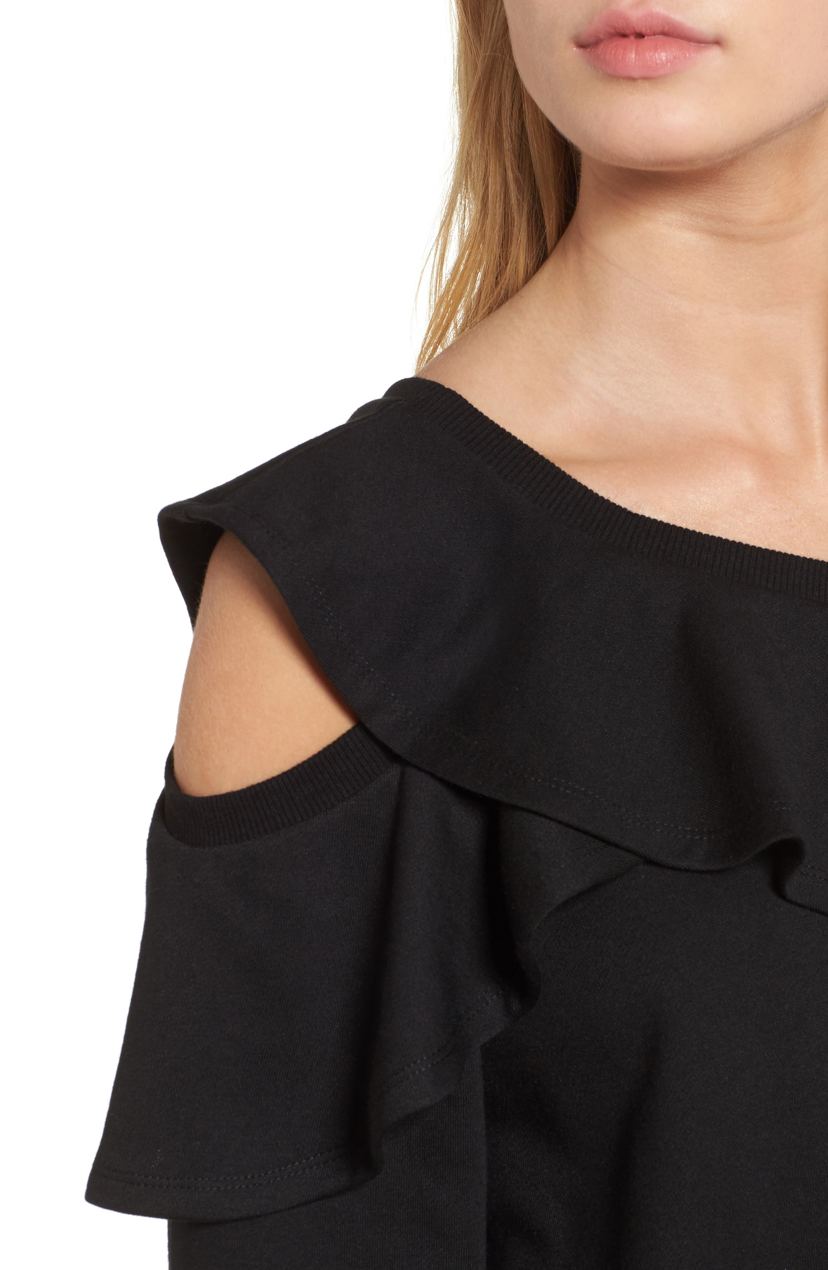 One-Shoulder Ruffle Sweatshirt,                             Alternate thumbnail 4, color,                             001