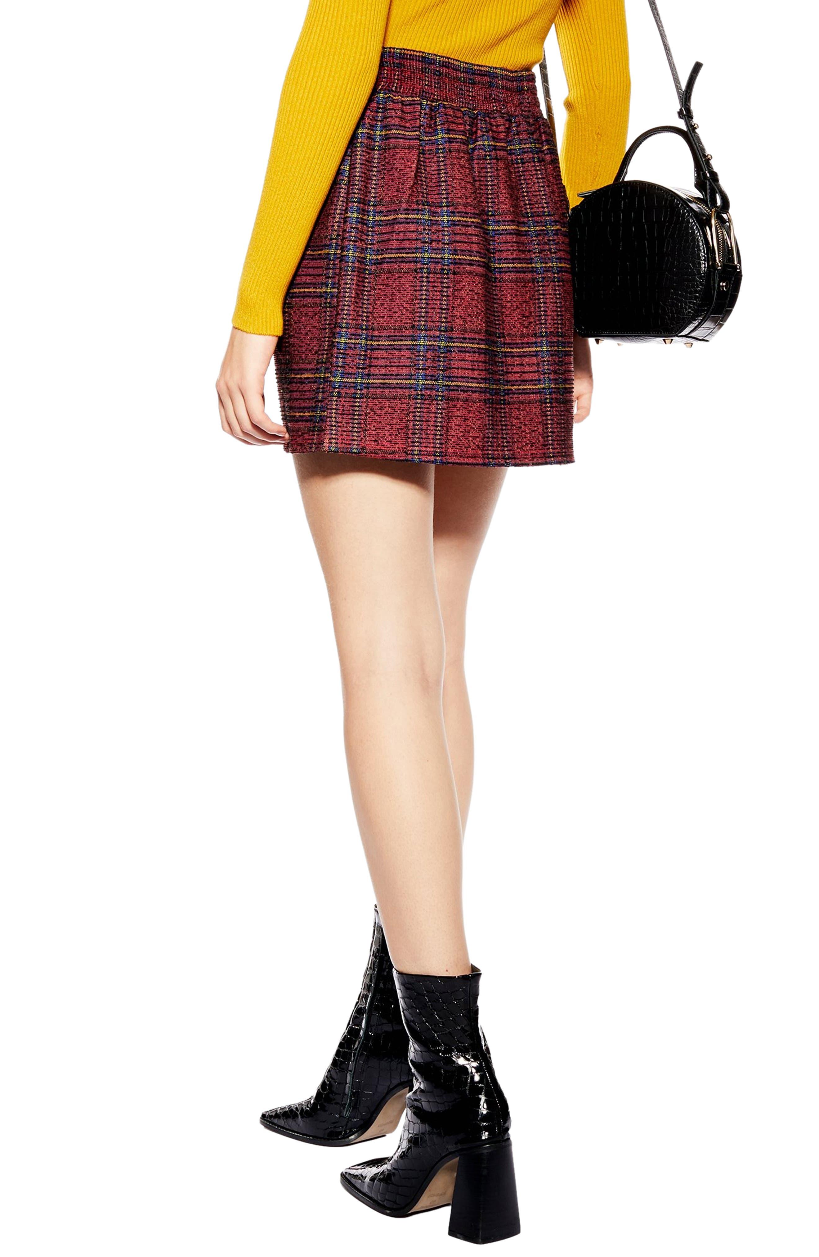 TOPSHOP,                             Tartan Bouclé Miniskirt,                             Alternate thumbnail 2, color,                             RED MULTI