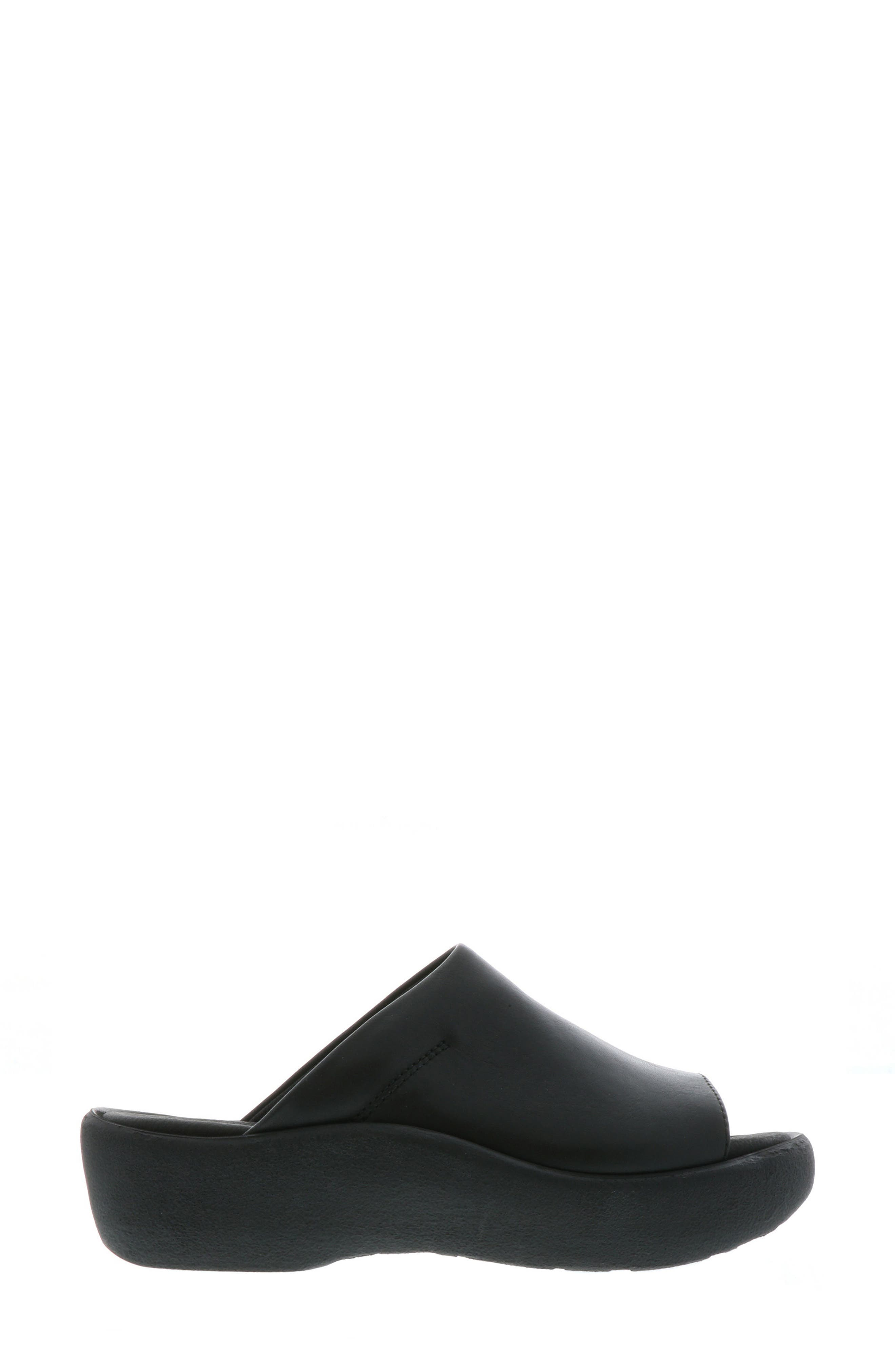 Nassau Slide Sandal,                             Alternate thumbnail 3, color,                             BLACK SMOOTH LEATHER